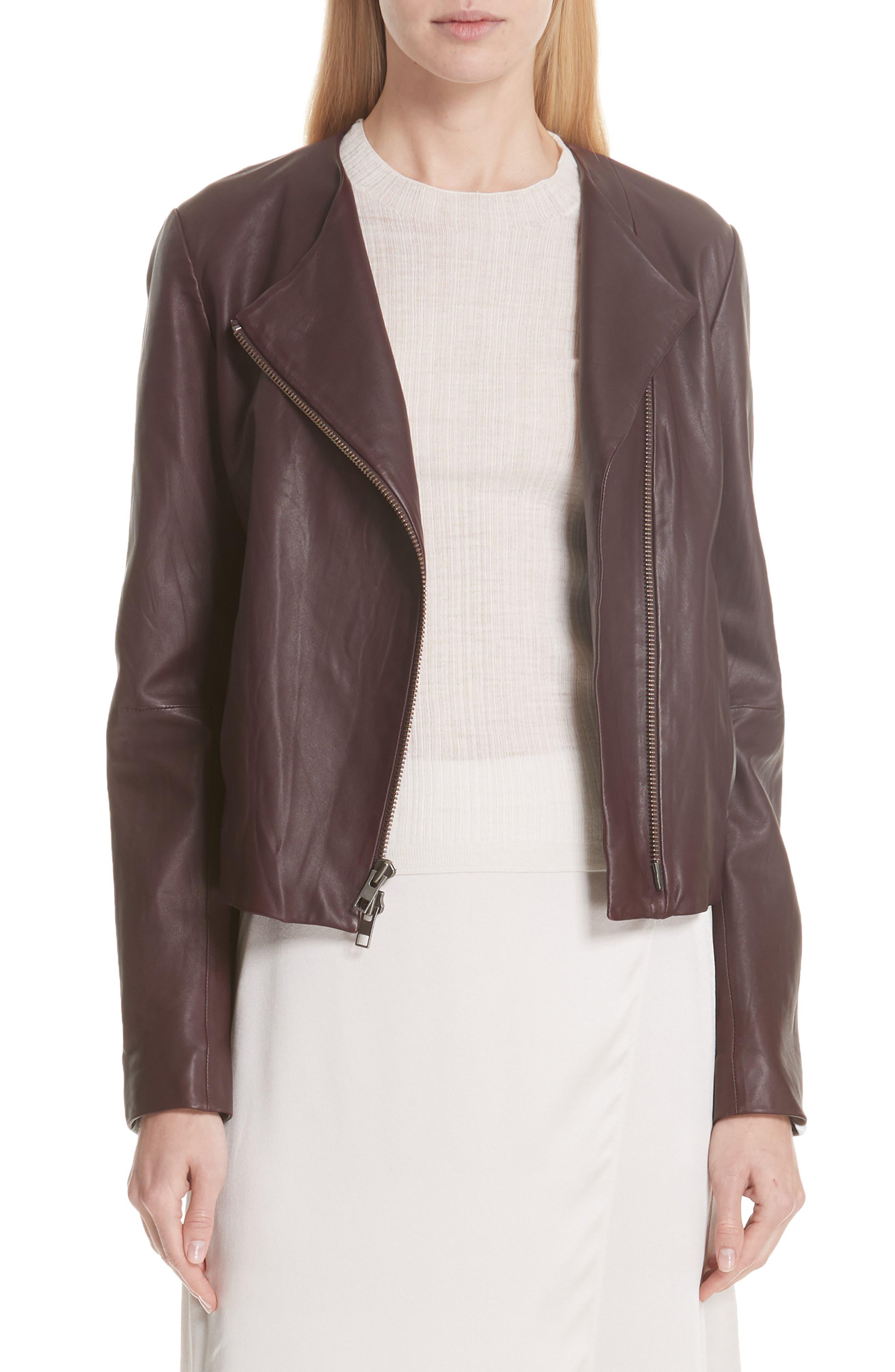 Zip Cross Front Leather Jacket,                         Main,                         color, Black Cherry