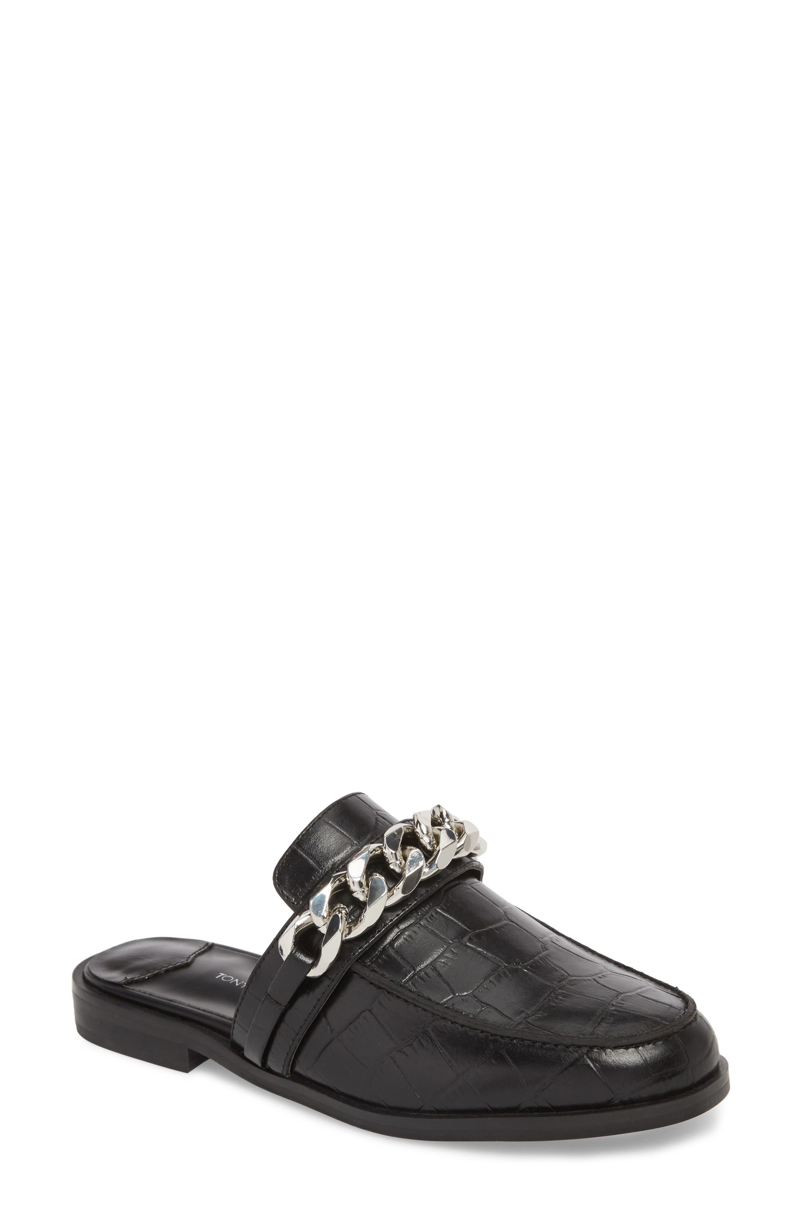 Dion Mule,                         Main,                         color, Black Leather