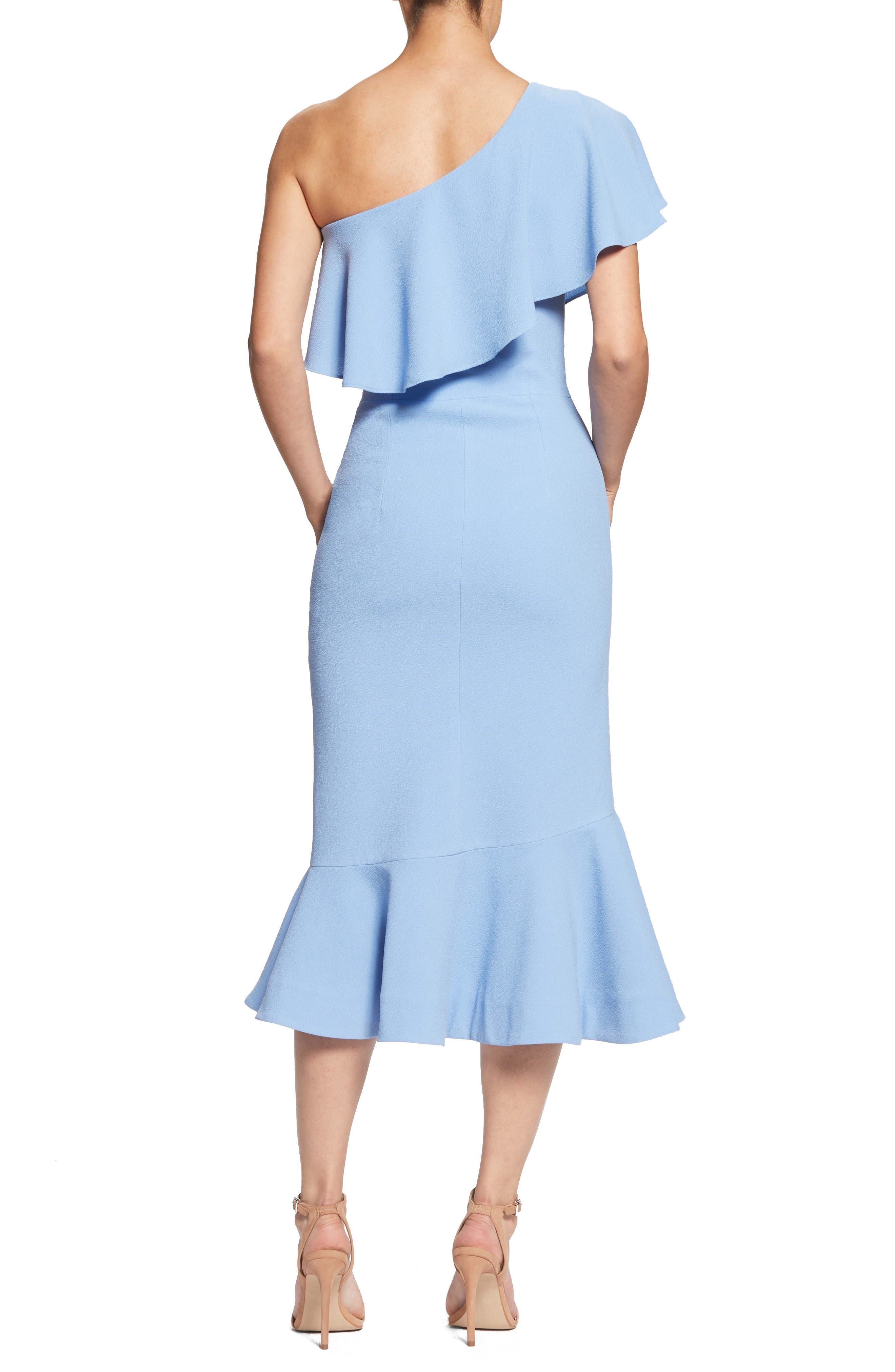 Raquel One-Shoulder Trumpet Dress,                             Alternate thumbnail 3, color,                             Ice Blue