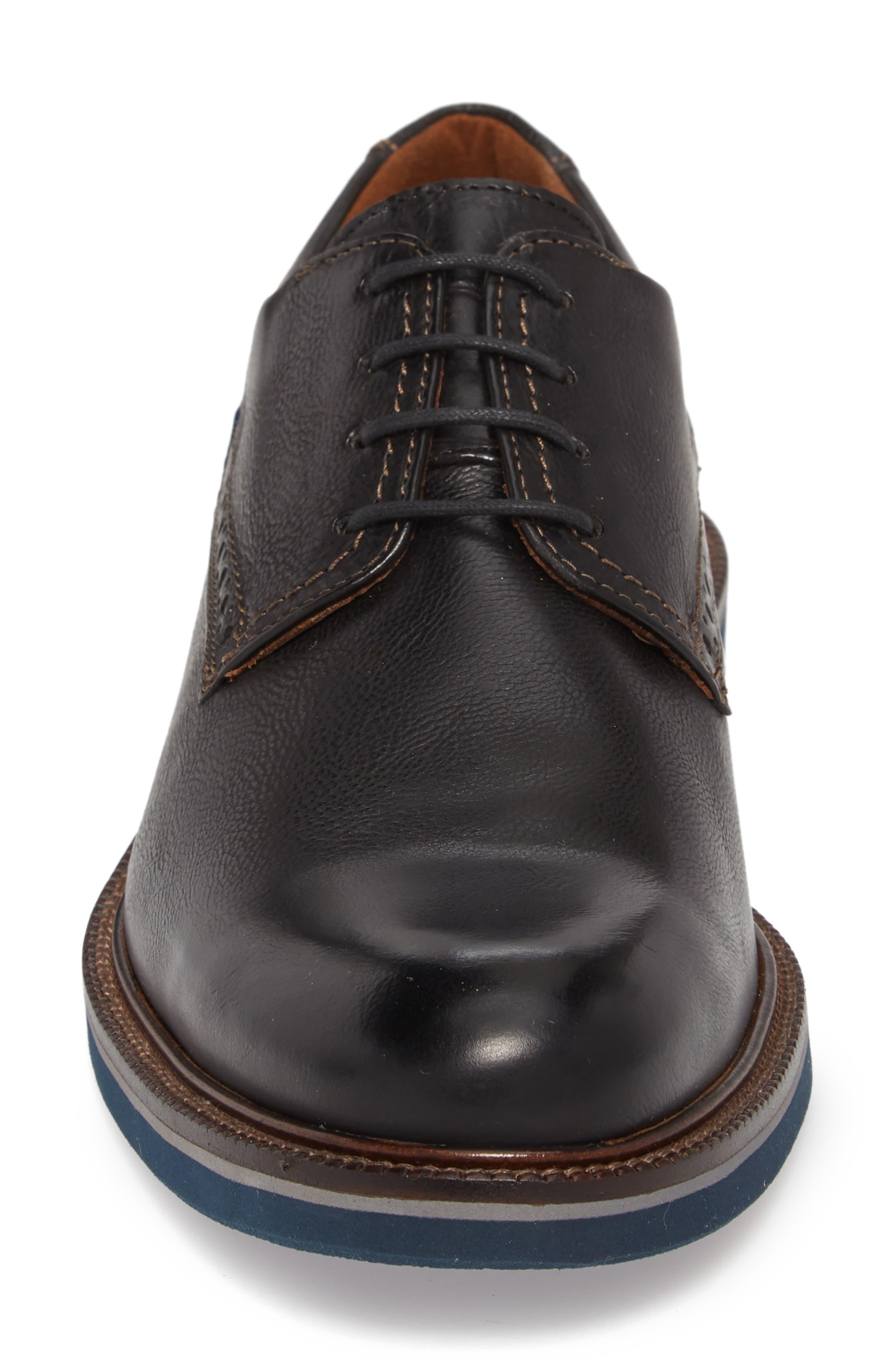 Hagen Plain Toe Derby,                             Alternate thumbnail 4, color,                             Black Leather