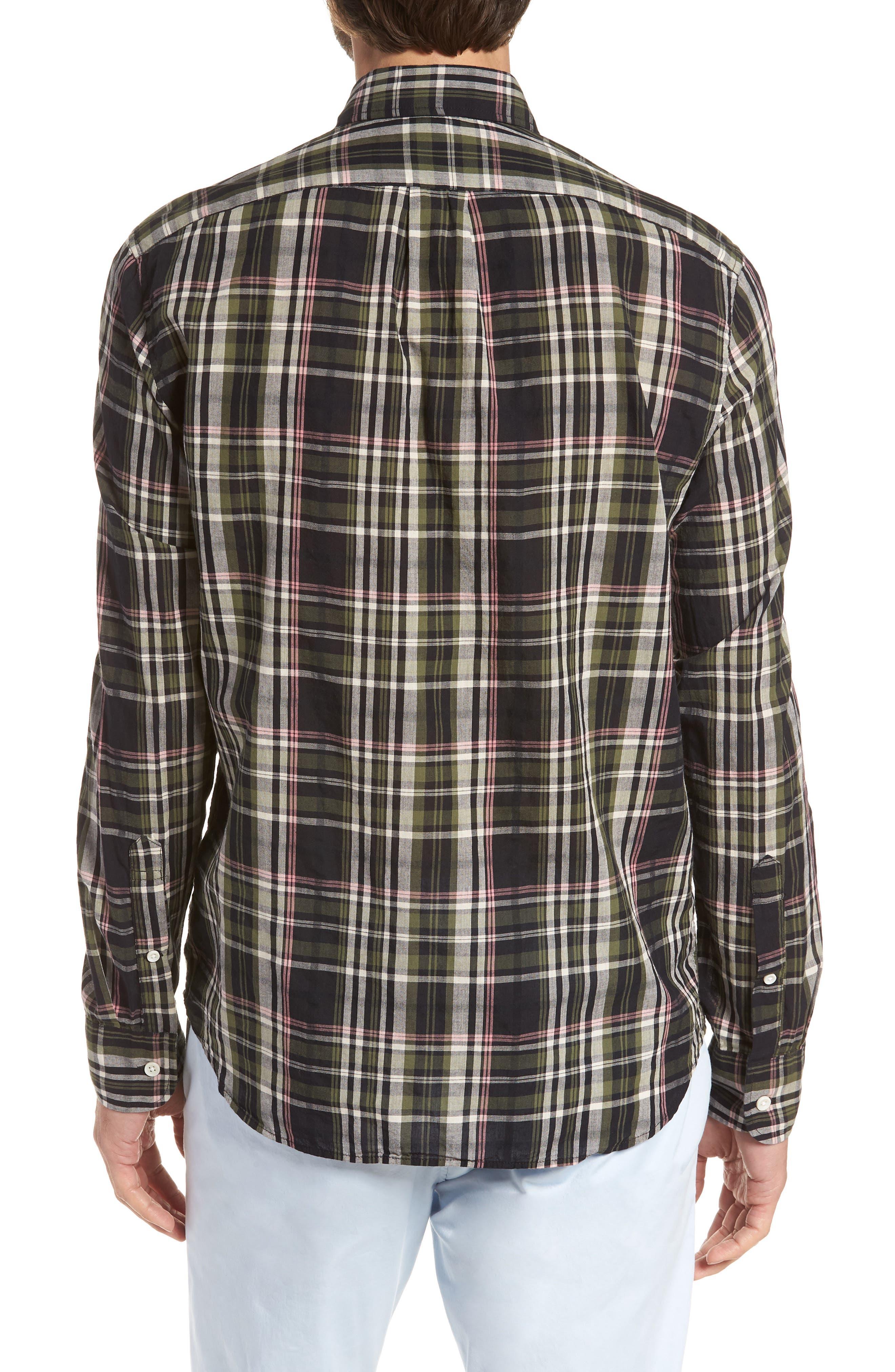 Jerome Slim Fit Plaid Sport Shirt,                             Alternate thumbnail 3, color,                             Midnight Jungle