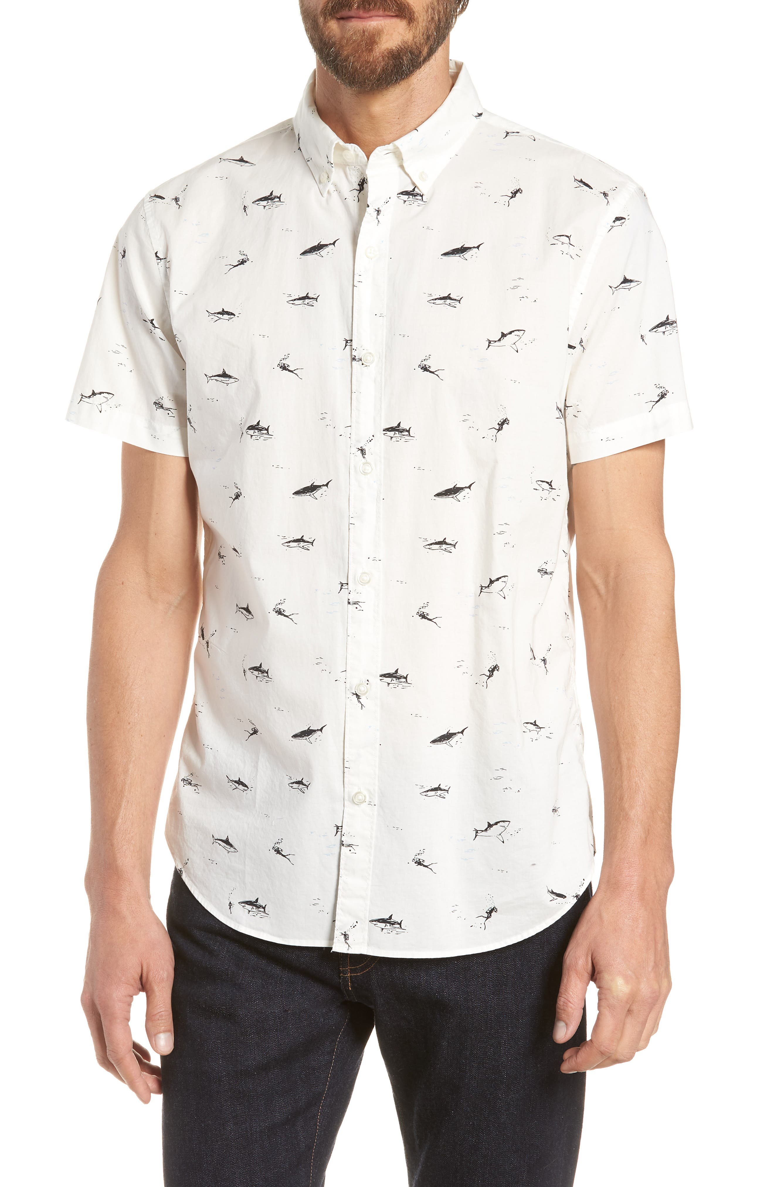 Riviera Slim Fit Shark Print Sport Shirt,                             Main thumbnail 1, color,                             Scuba Dive - Jet Black