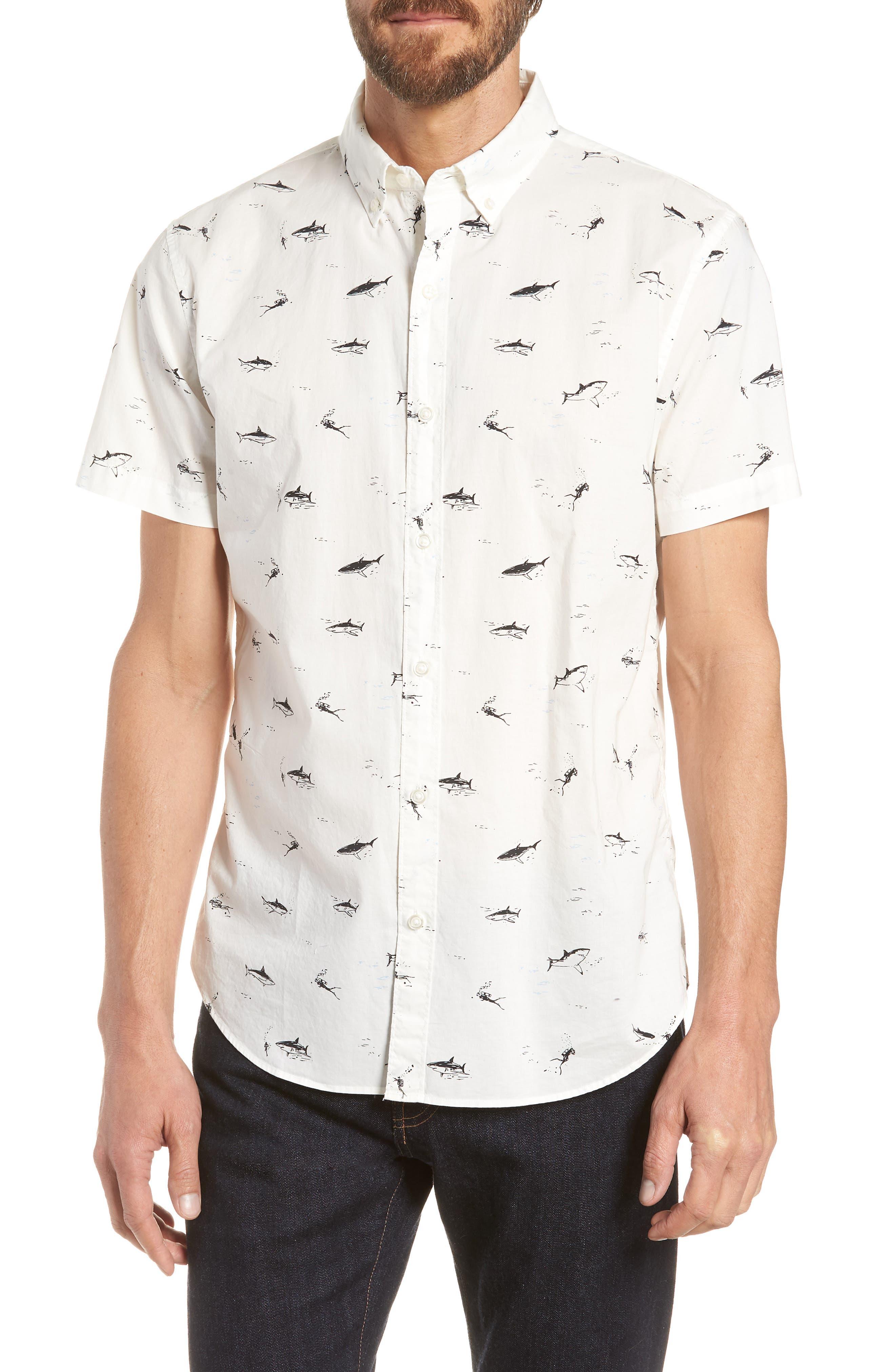 Riviera Slim Fit Shark Print Sport Shirt,                         Main,                         color, Scuba Dive - Jet Black