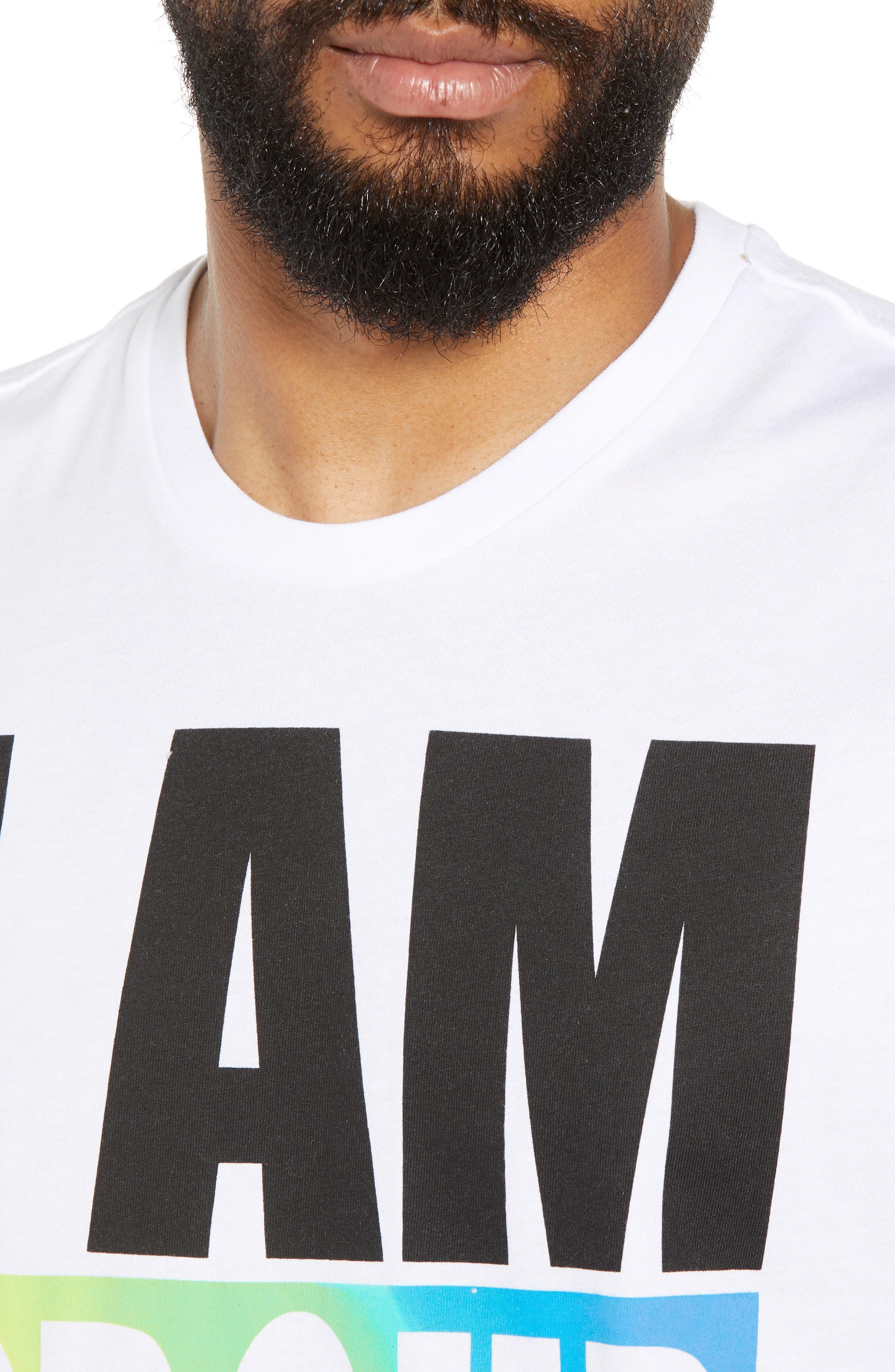 Community Sleeveless T-Shirt,                             Alternate thumbnail 3, color,                             I Am Rainbow Gradient White