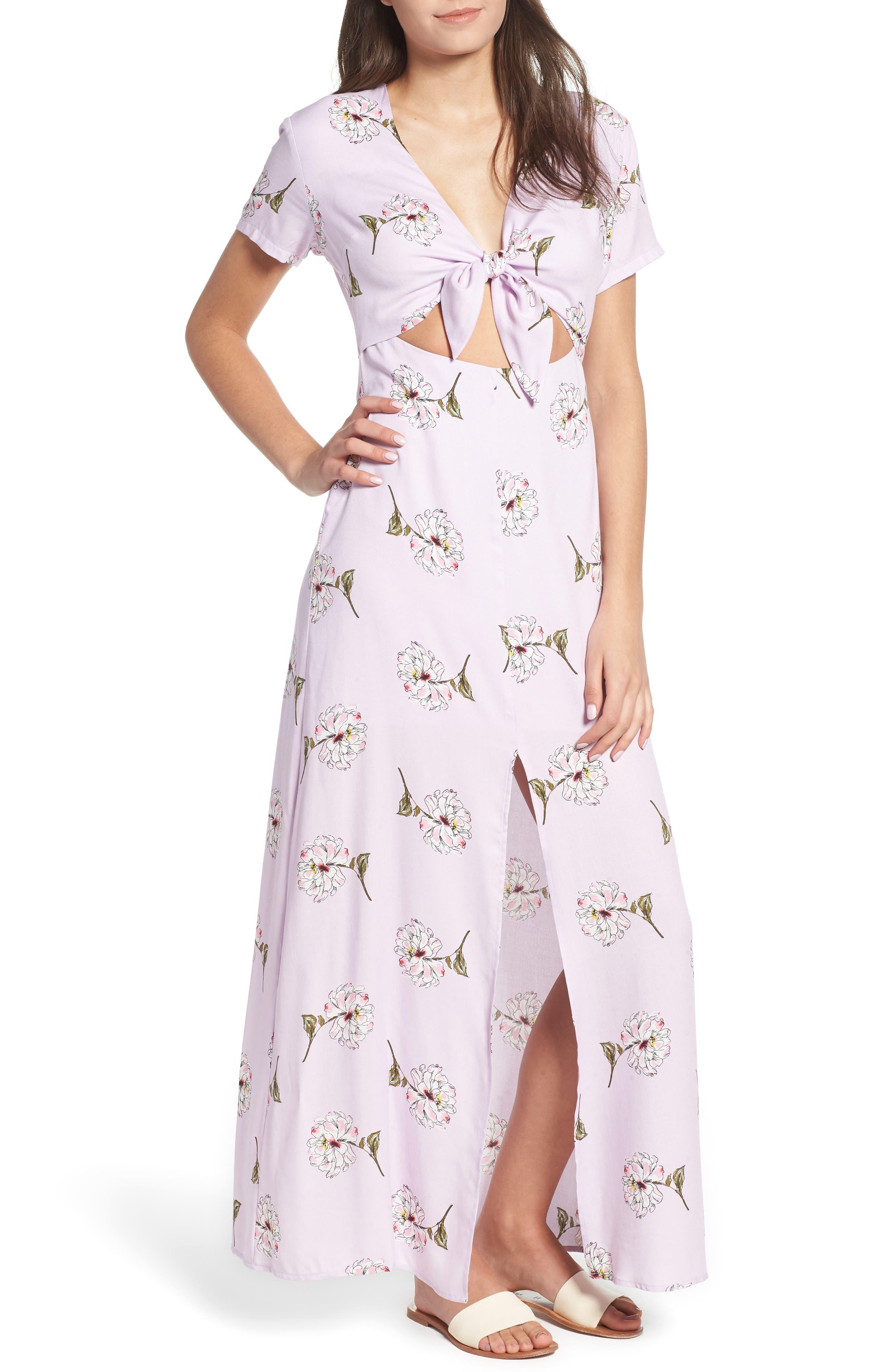 Cutout Tie Front Maxi Dress,                             Main thumbnail 1, color,                             Lavender Floral