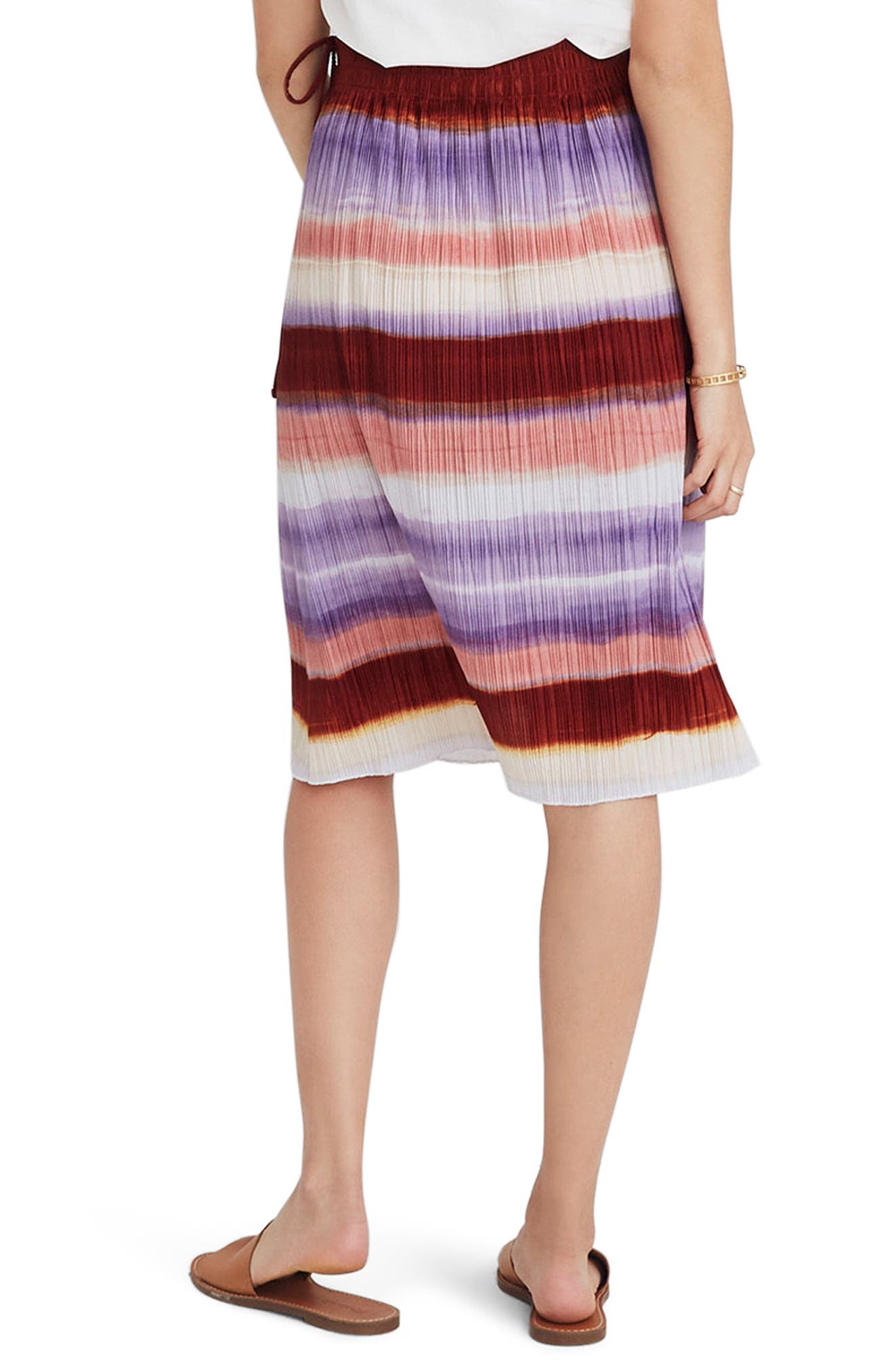 Texture & Thread Ombré Rainbow Micropleat Midi Skirt,                             Alternate thumbnail 2, color,                             Clementine Cream