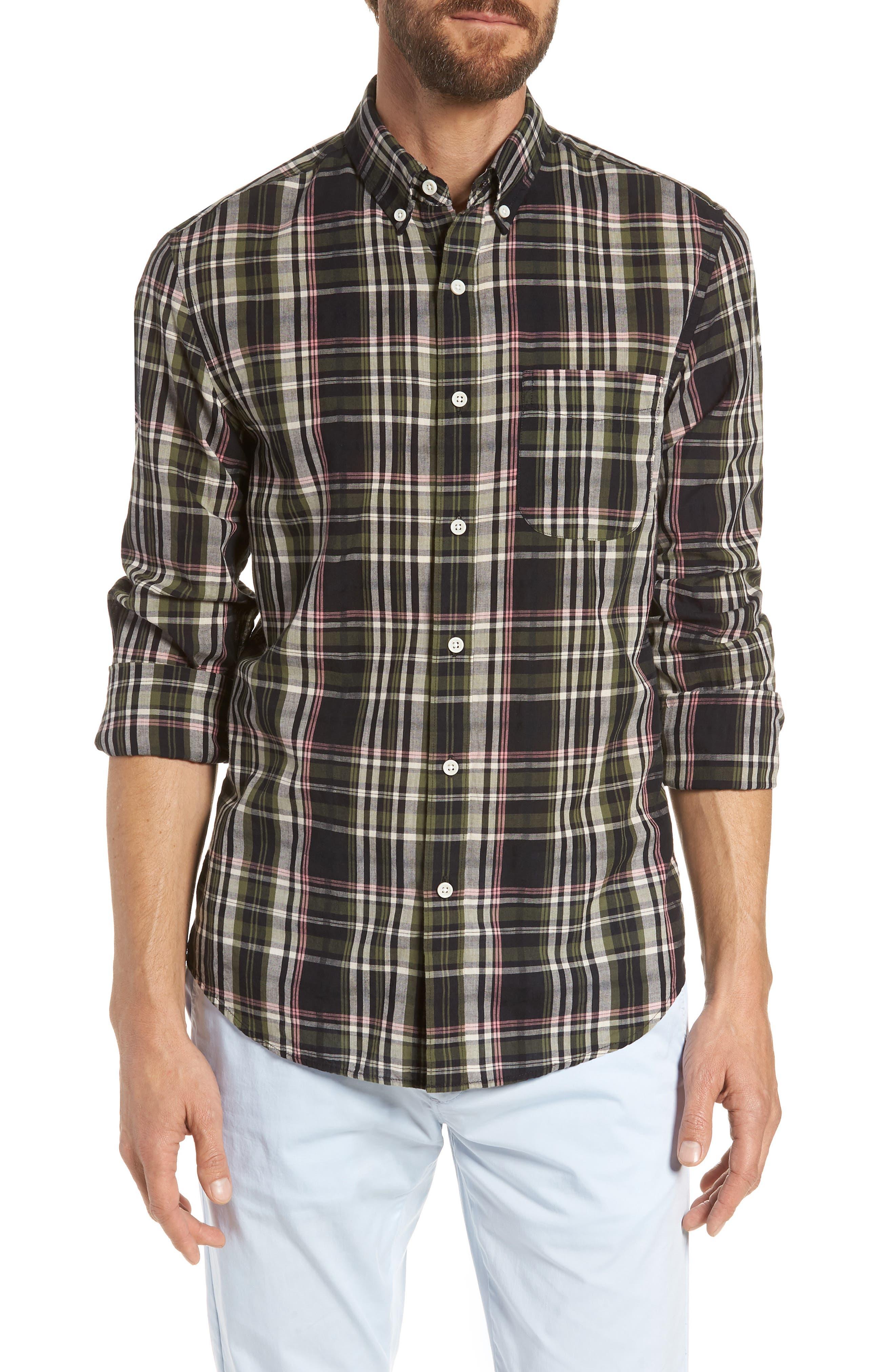 Jerome Slim Fit Plaid Sport Shirt,                         Main,                         color, Midnight Jungle