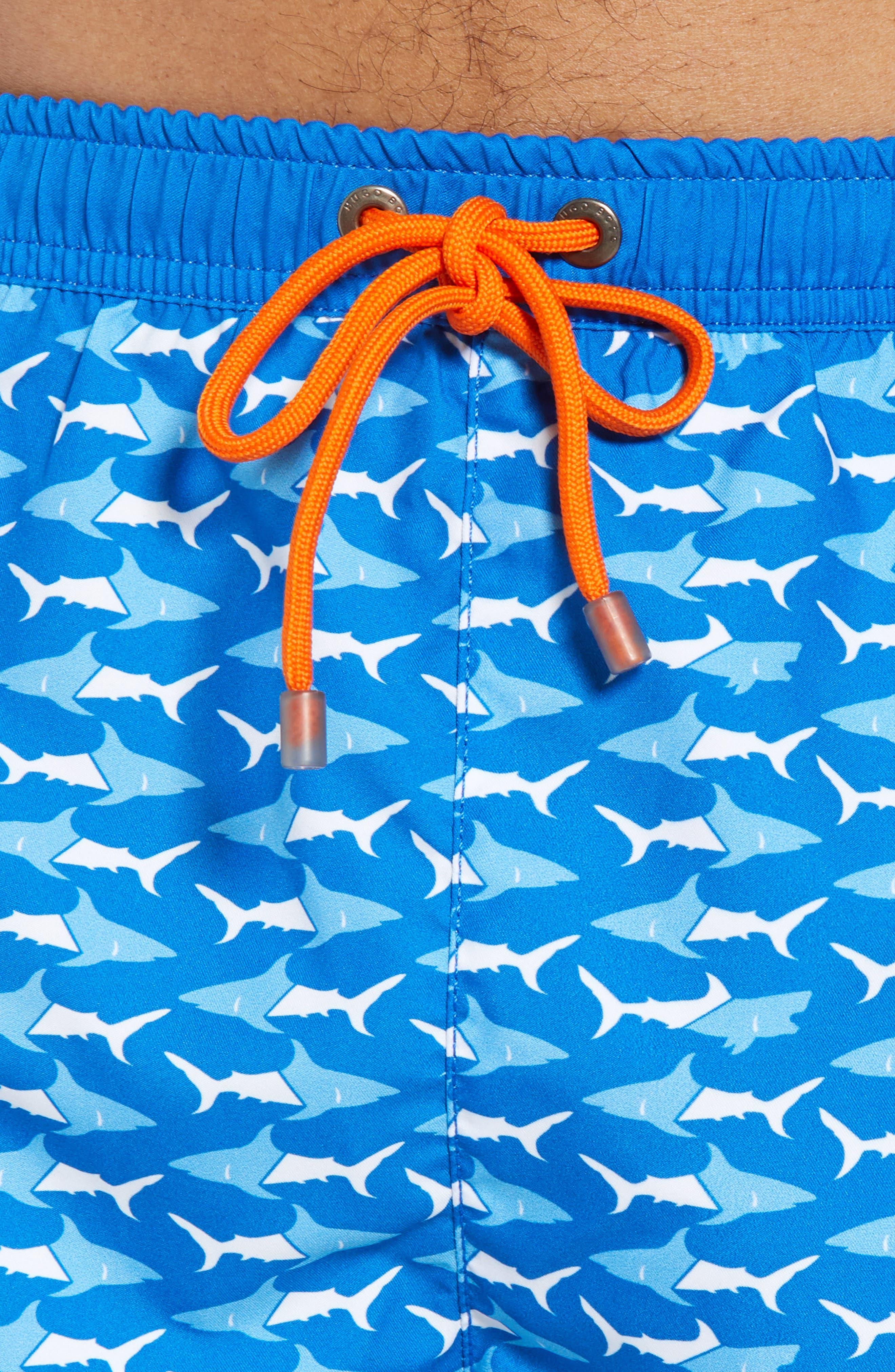 Piranha Shark Swim Trunks,                             Alternate thumbnail 4, color,                             Blue
