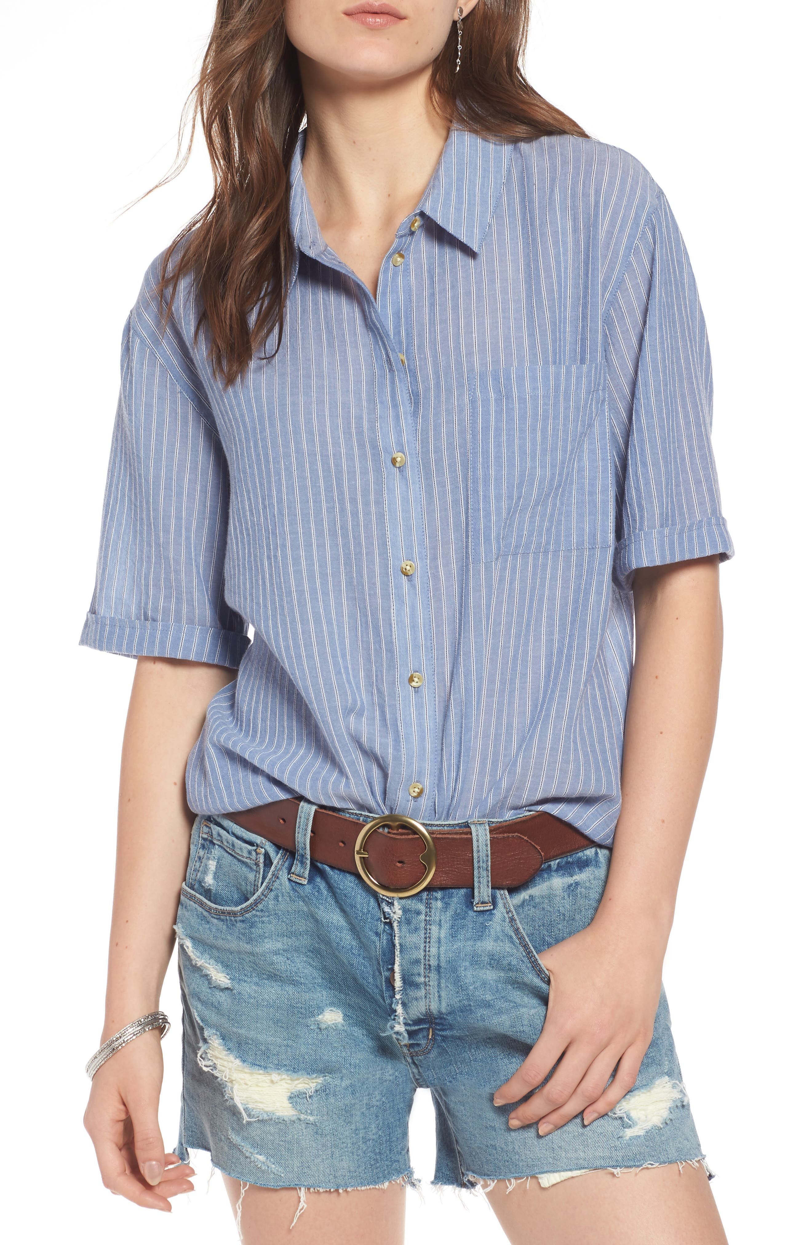 Stripe Button Front Shirt,                             Main thumbnail 1, color,                             Blue Airy Stripe