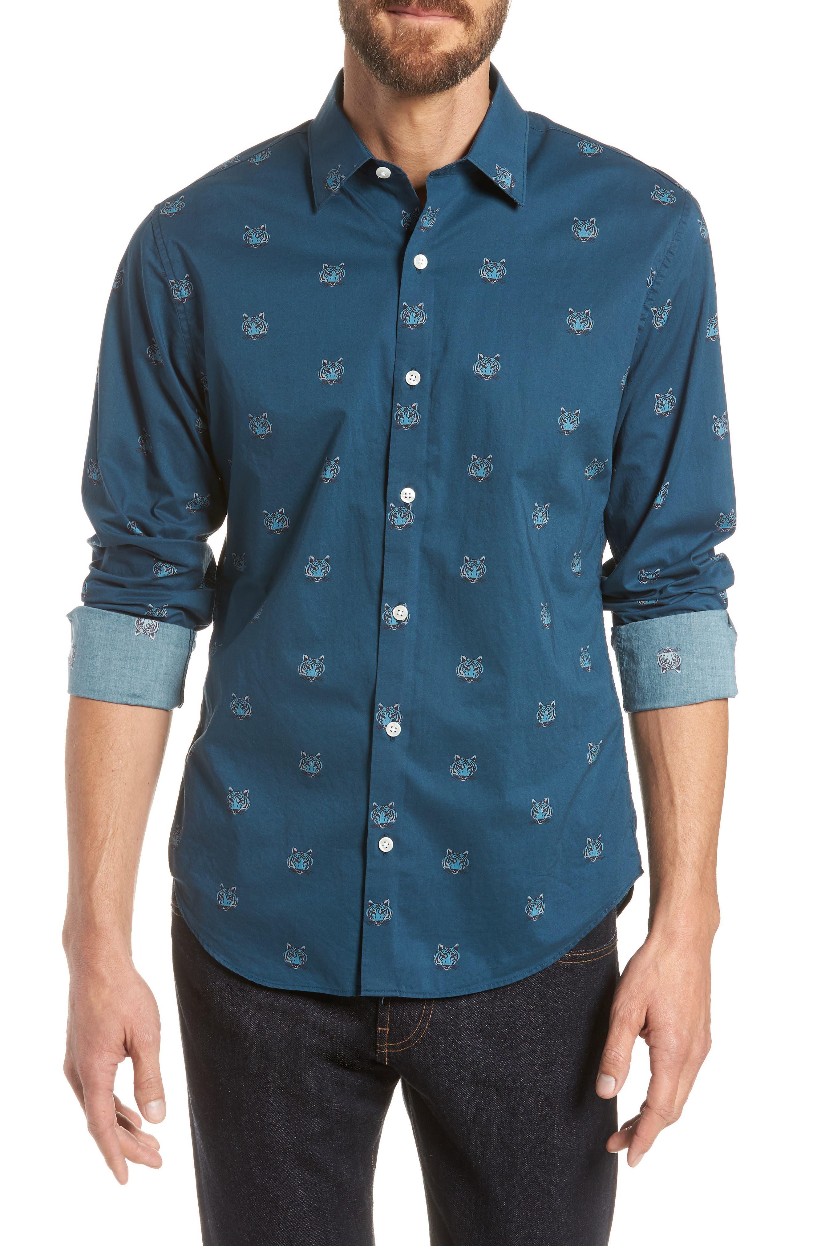 Unbutton Down Slim Fit Tiger Sport Shirt,                         Main,                         color, Tiger Head - Viridien