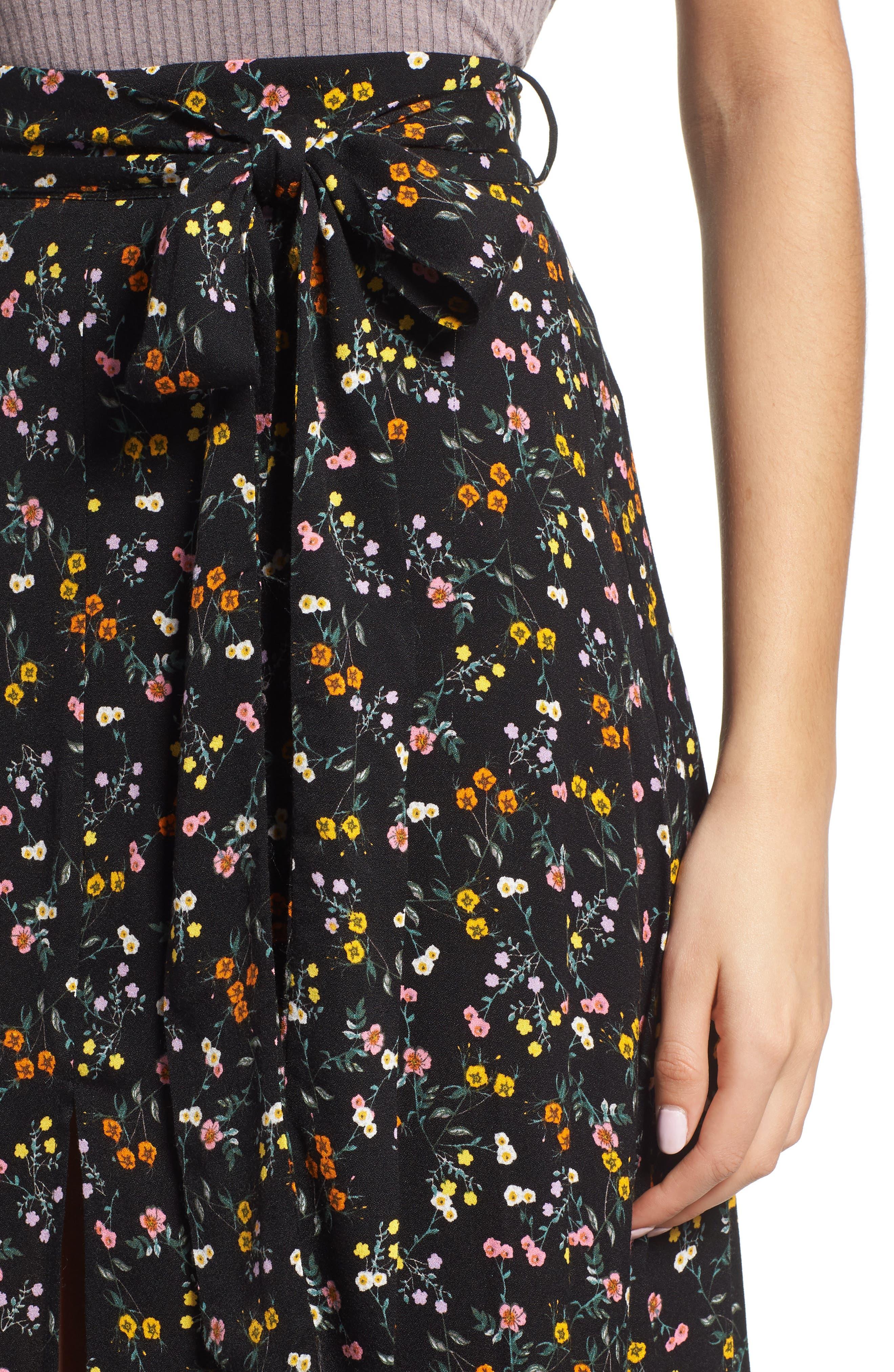 Alessandra Maxi Skirt,                             Alternate thumbnail 4, color,                             Noir Petite Fleur