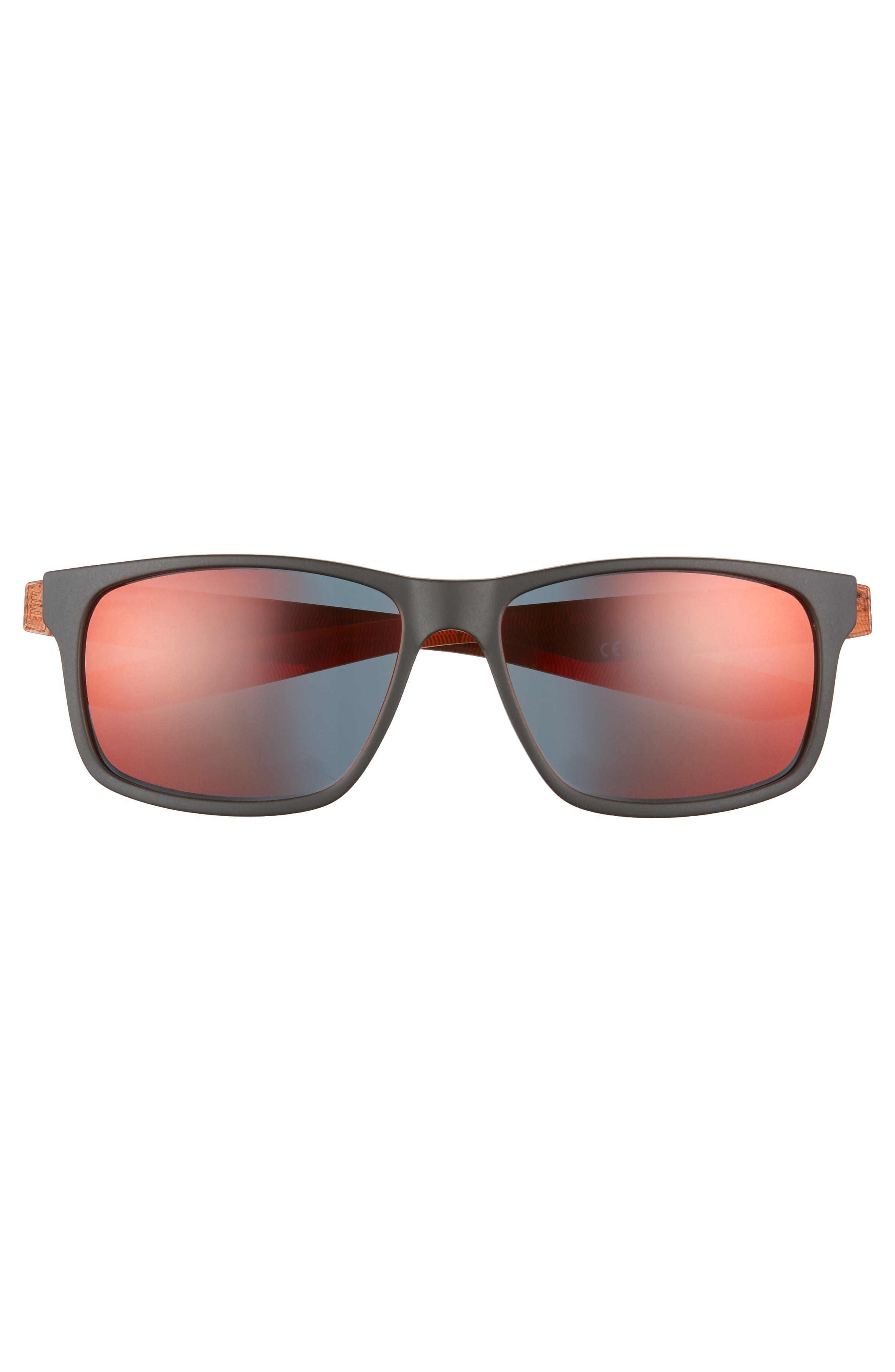 Essential Chaser 57mm Reflective Sunglasses,                             Alternate thumbnail 2, color,                             Matte Black/ Amaranthine