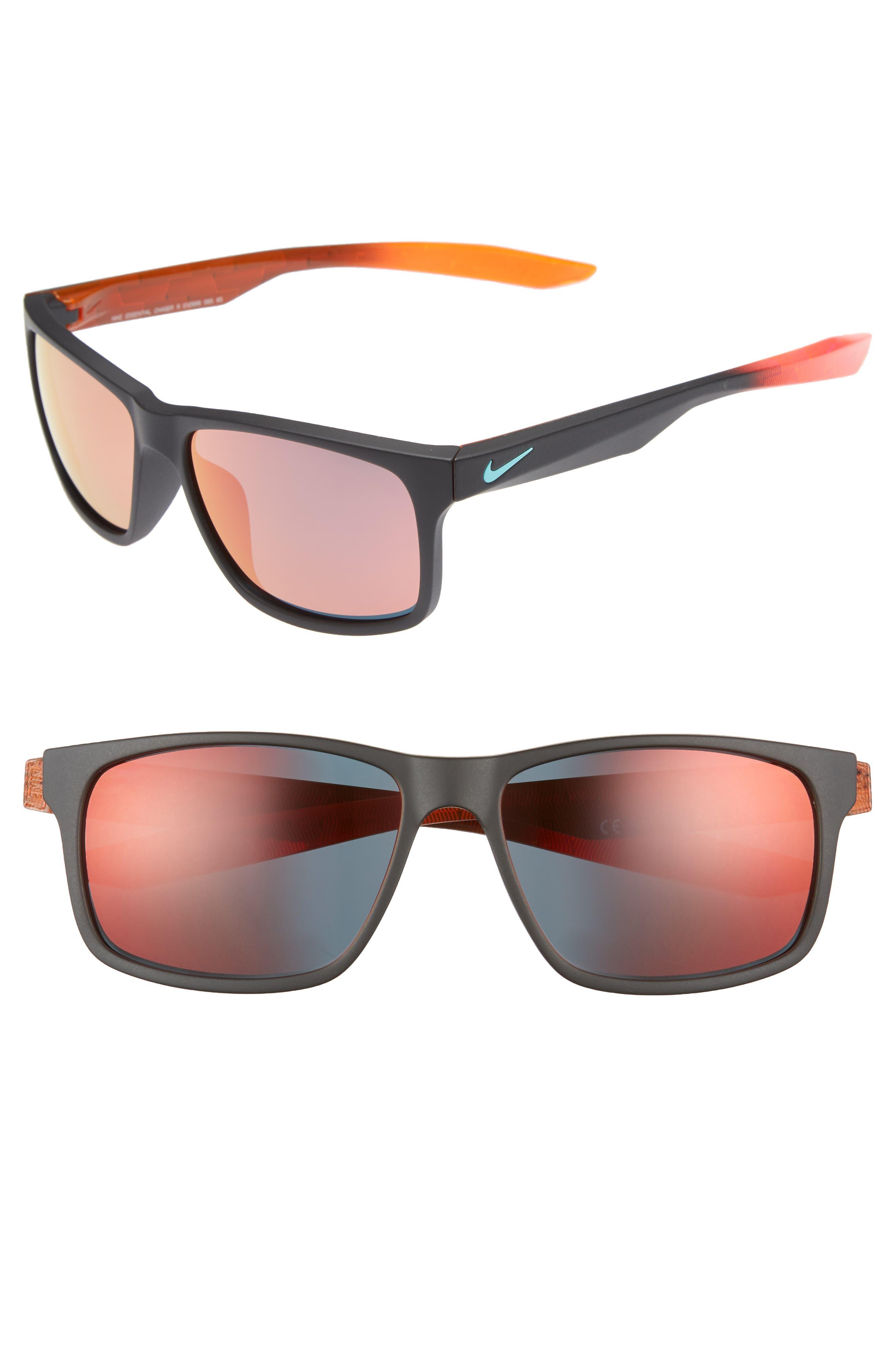 Essential Chaser 57mm Reflective Sunglasses,                             Main thumbnail 1, color,                             Matte Black/ Amaranthine