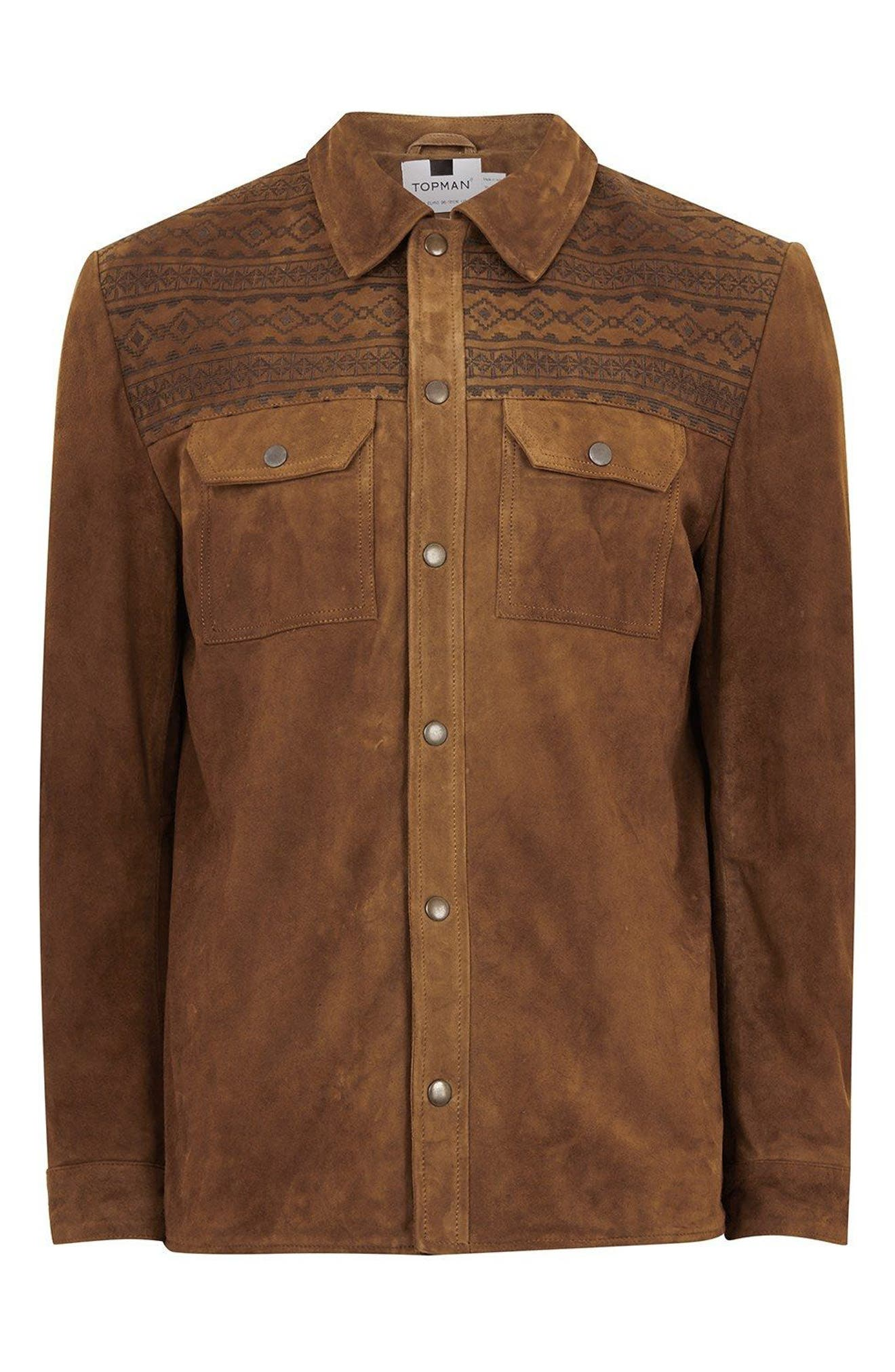 Embroidered Suede Jacket,                             Alternate thumbnail 4, color,                             Brown Multi