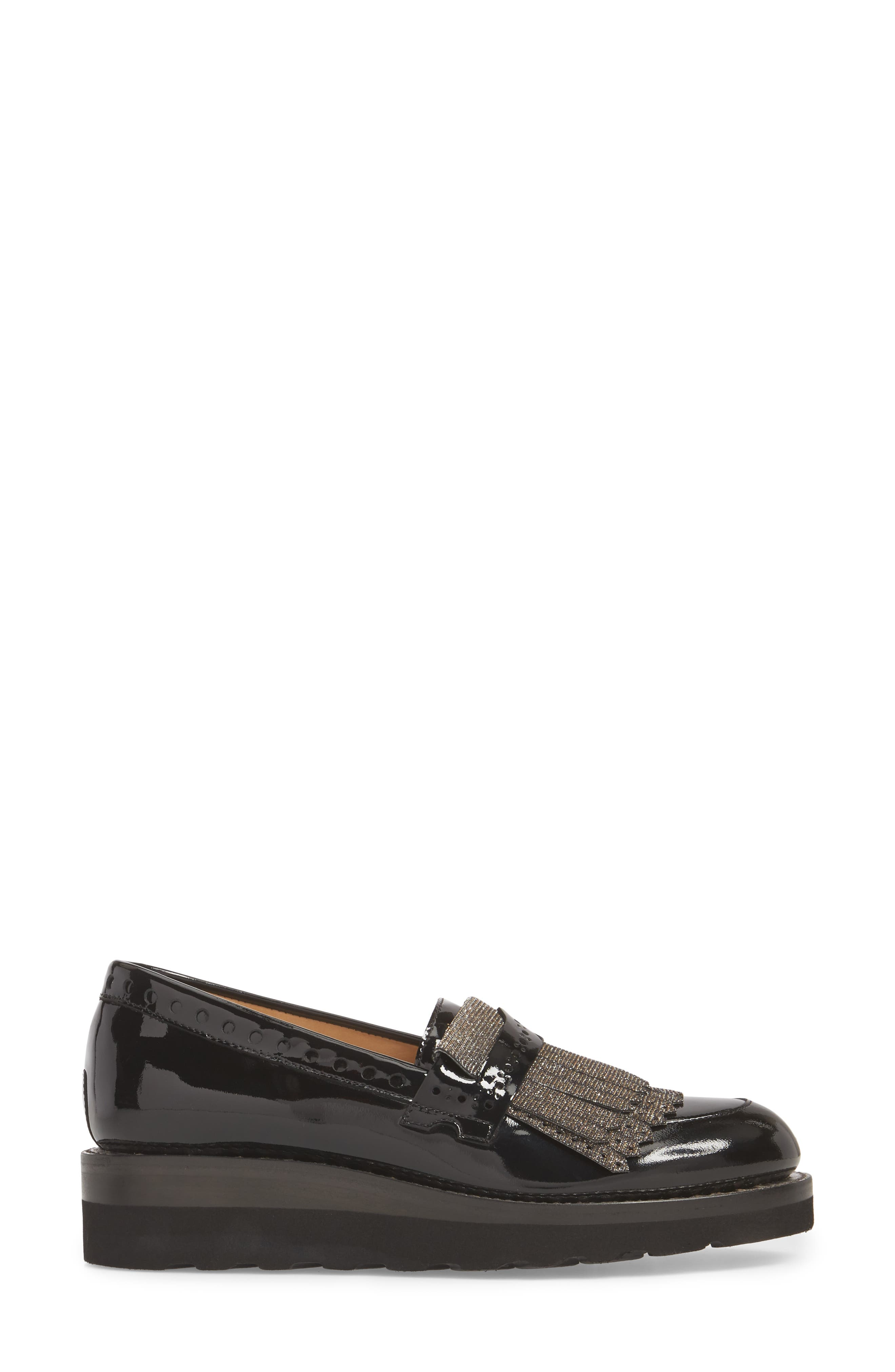 Mr. Pennywise Wedge Loafer,                             Alternate thumbnail 3, color,                             Black Metallic