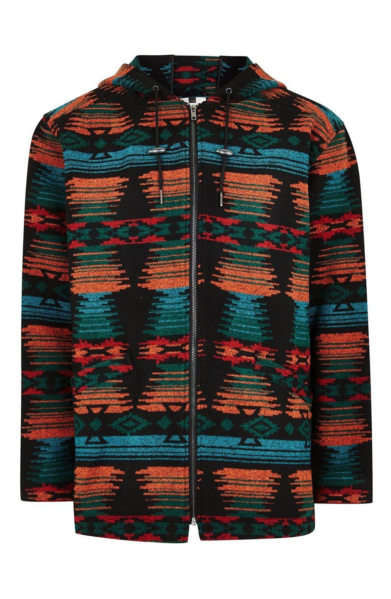 Jacquard Hooded Jacket,                             Alternate thumbnail 3, color,                             Black Multi