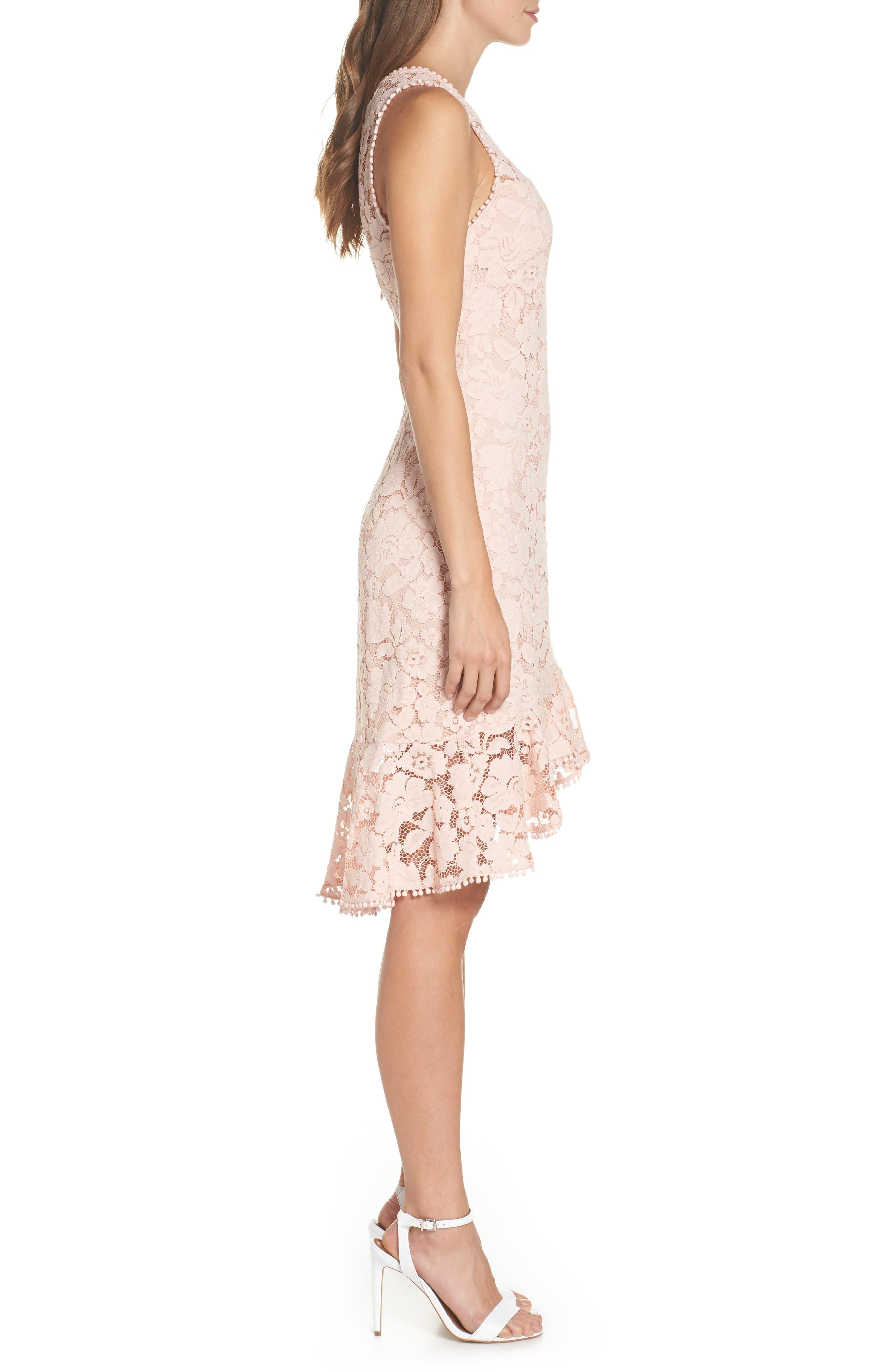 Sleeveless Lace Sheath Dress,                             Alternate thumbnail 3, color,                             Blush