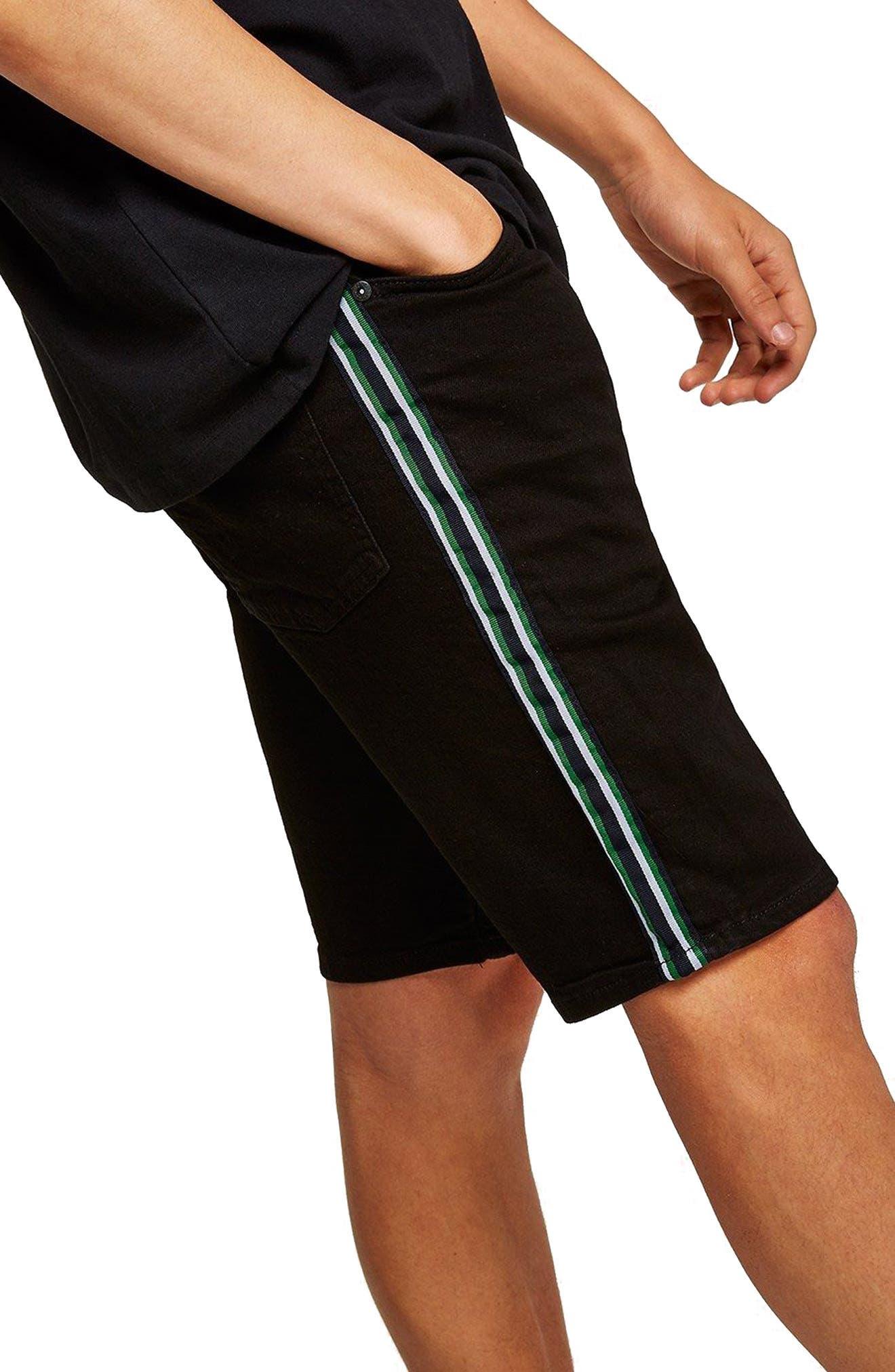 Tape Stretch Skinny Fit Denim Shorts,                             Alternate thumbnail 3, color,                             Black
