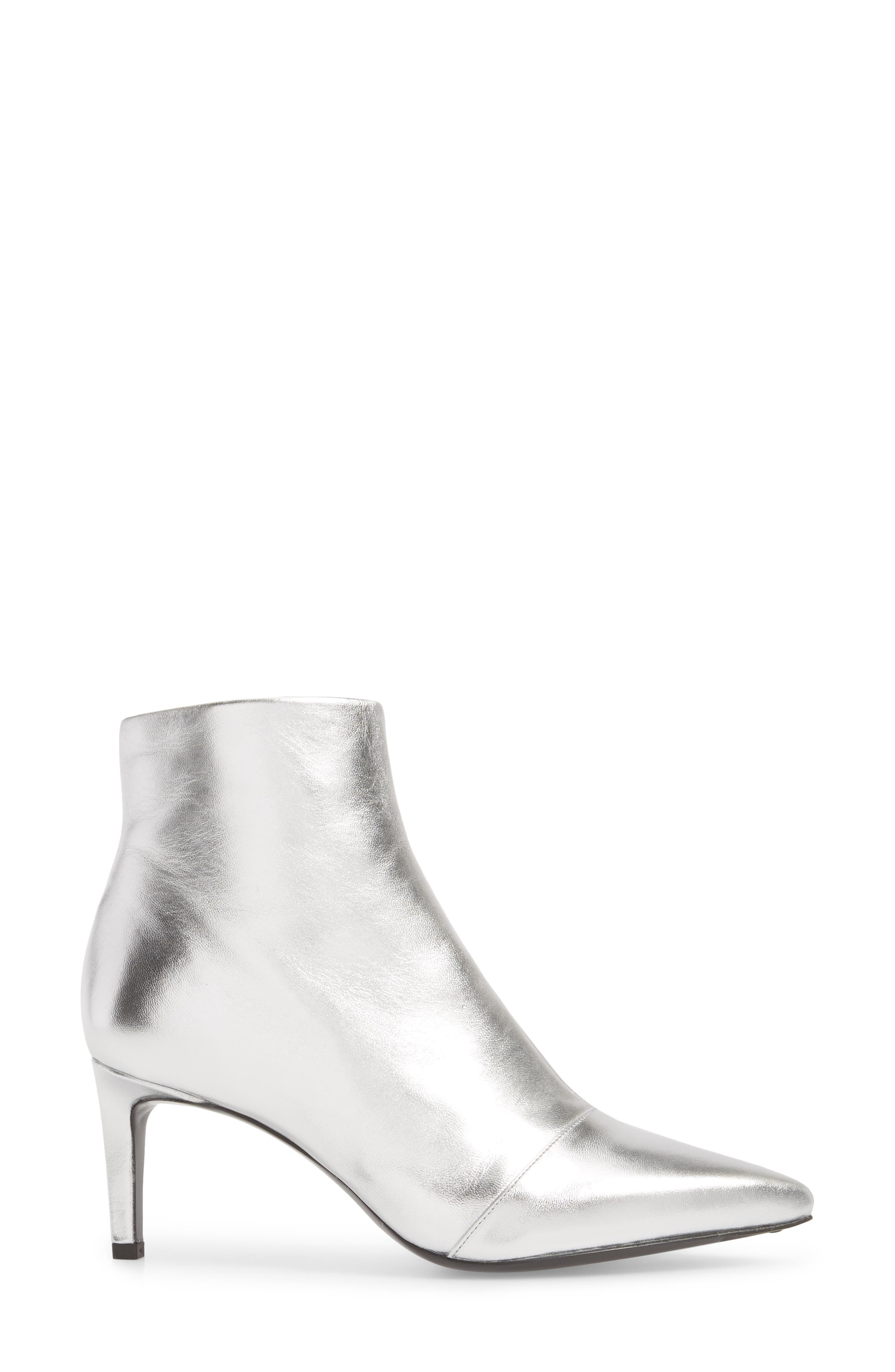 Beha Pointy Toe Bootie,                             Alternate thumbnail 3, color,                             Silver