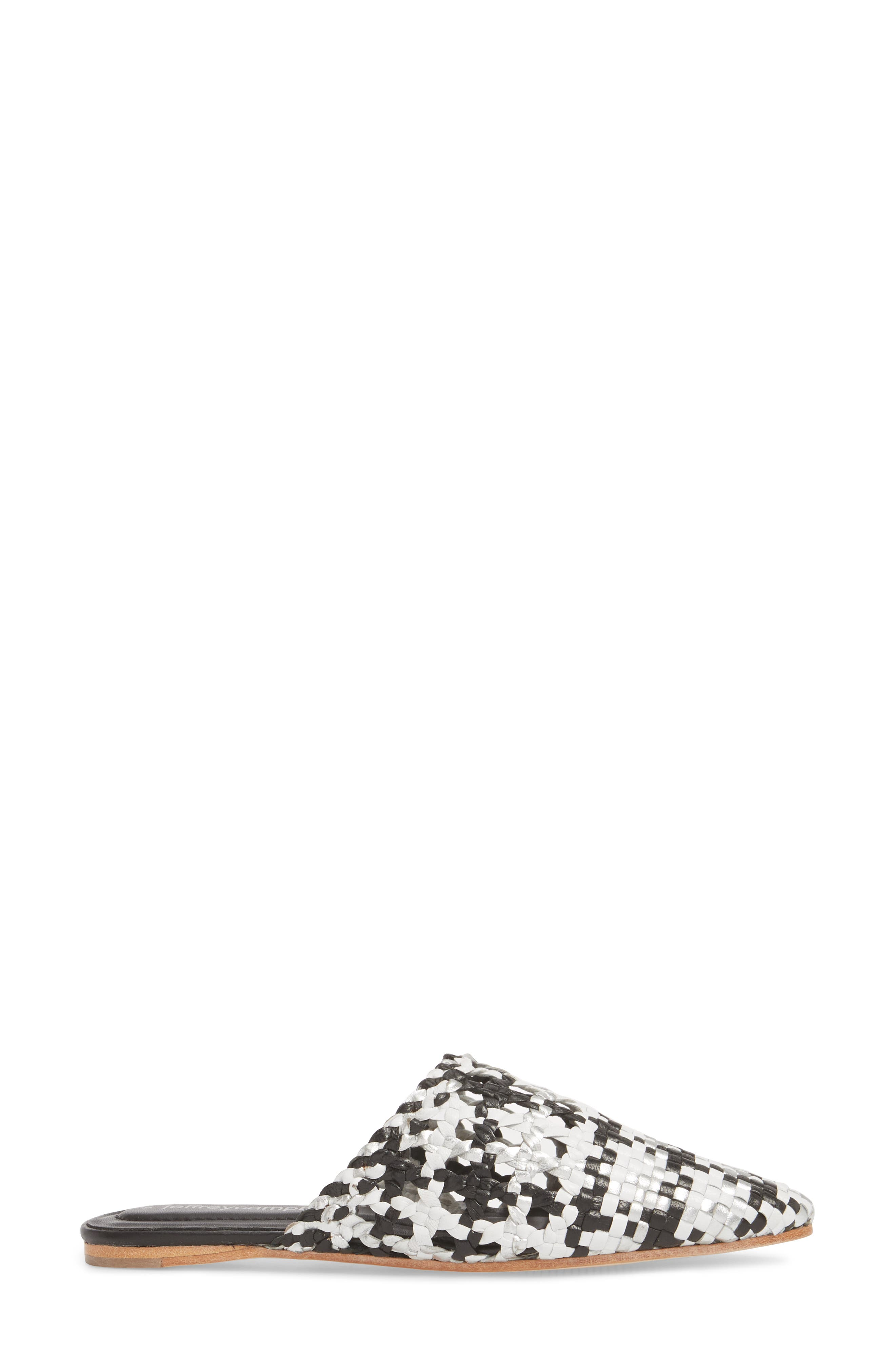 Atrata-WV Woven Mule,                             Alternate thumbnail 3, color,                             Black White Silver