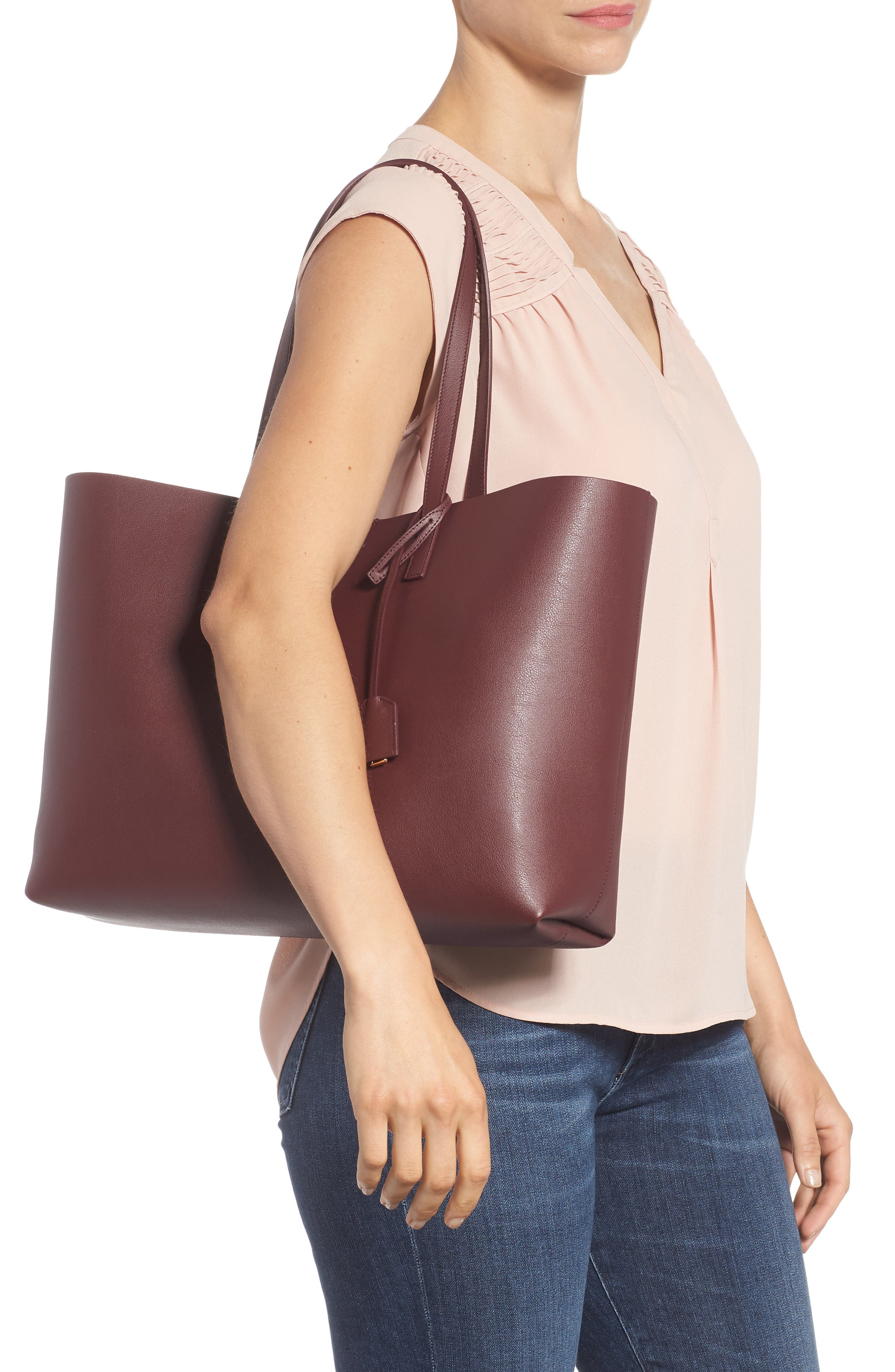 'Shopping' Leather Tote,                             Alternate thumbnail 2, color,                             Rouge Legion