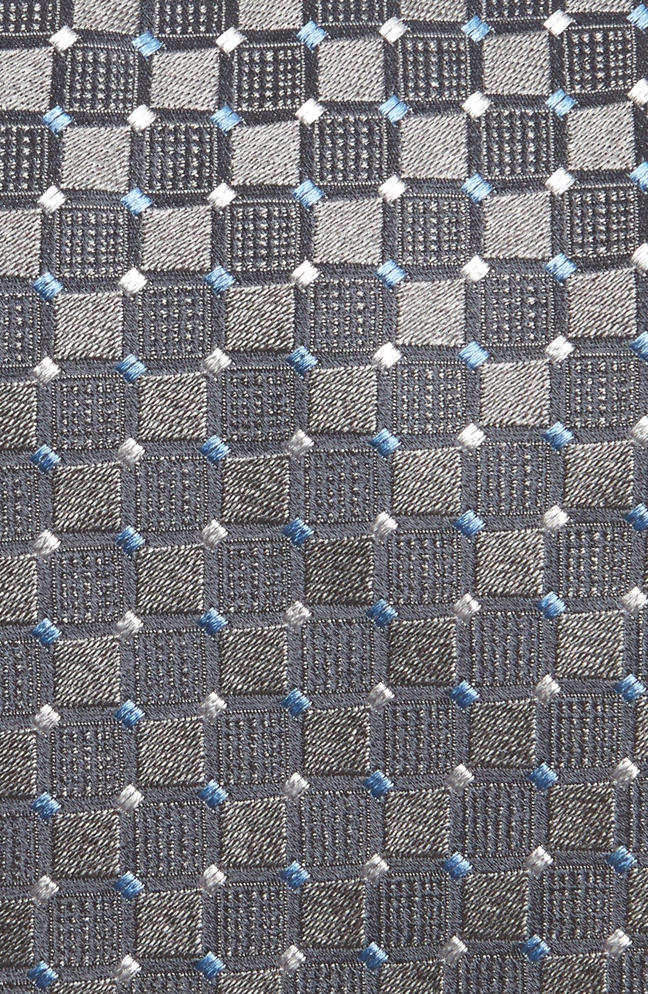 Geometric Silk Tie,                             Alternate thumbnail 2, color,                             Charcoal