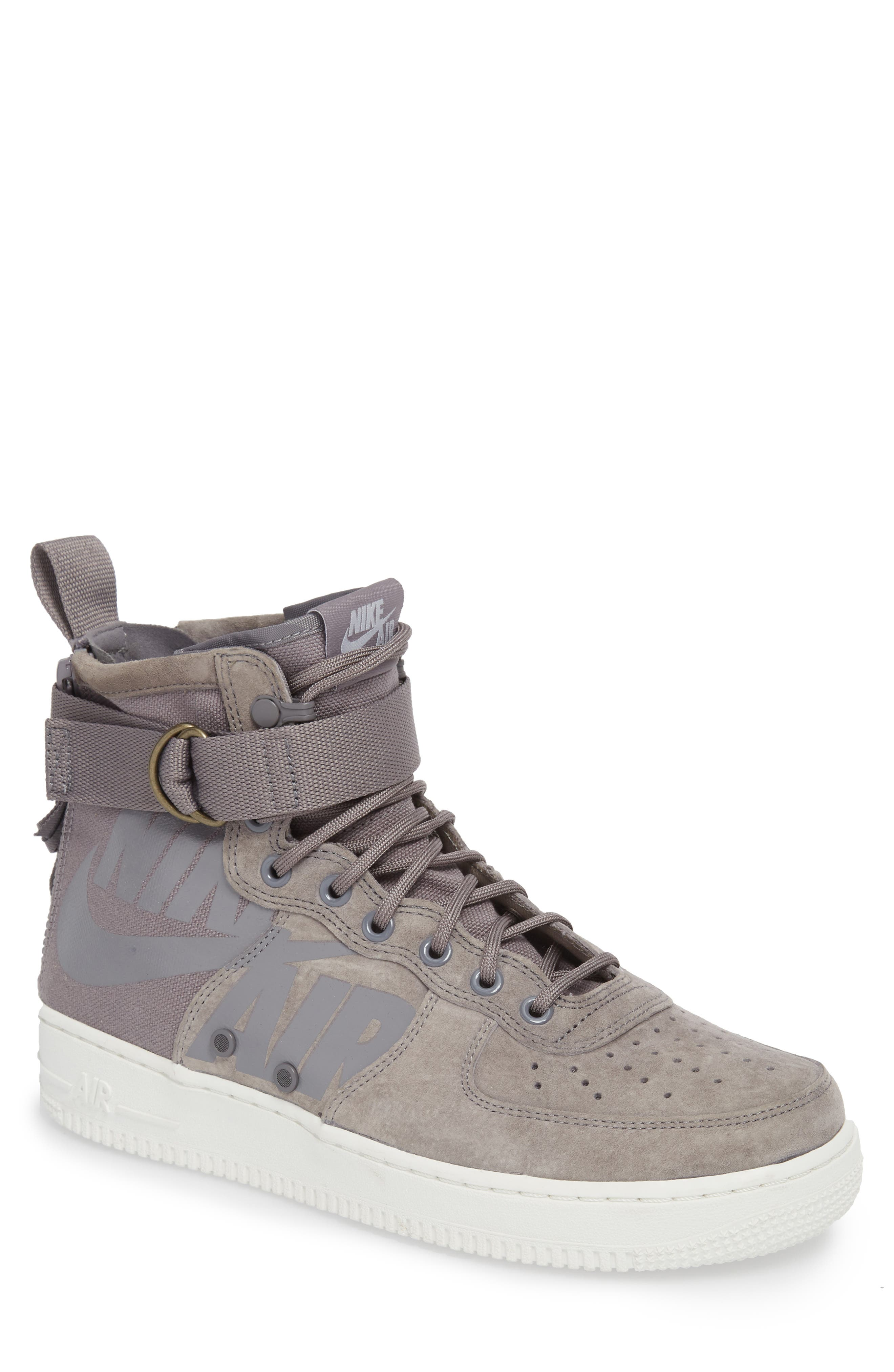 SF Air Force 1 Mid Sneaker,                             Main thumbnail 1, color,                             Gunsmoke/ Wolf Grey/ White