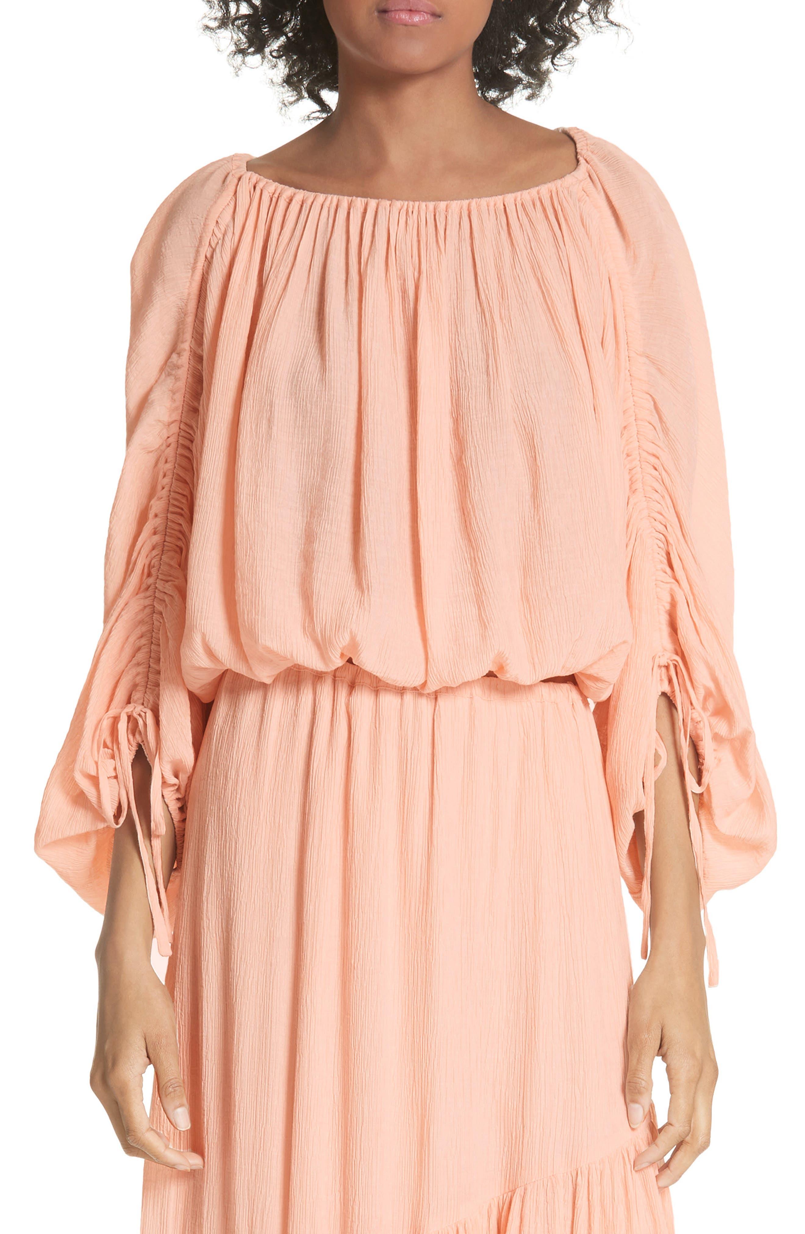 Elazara Ruched Sleeve Peasant Top,                         Main,                         color, Summer Pink