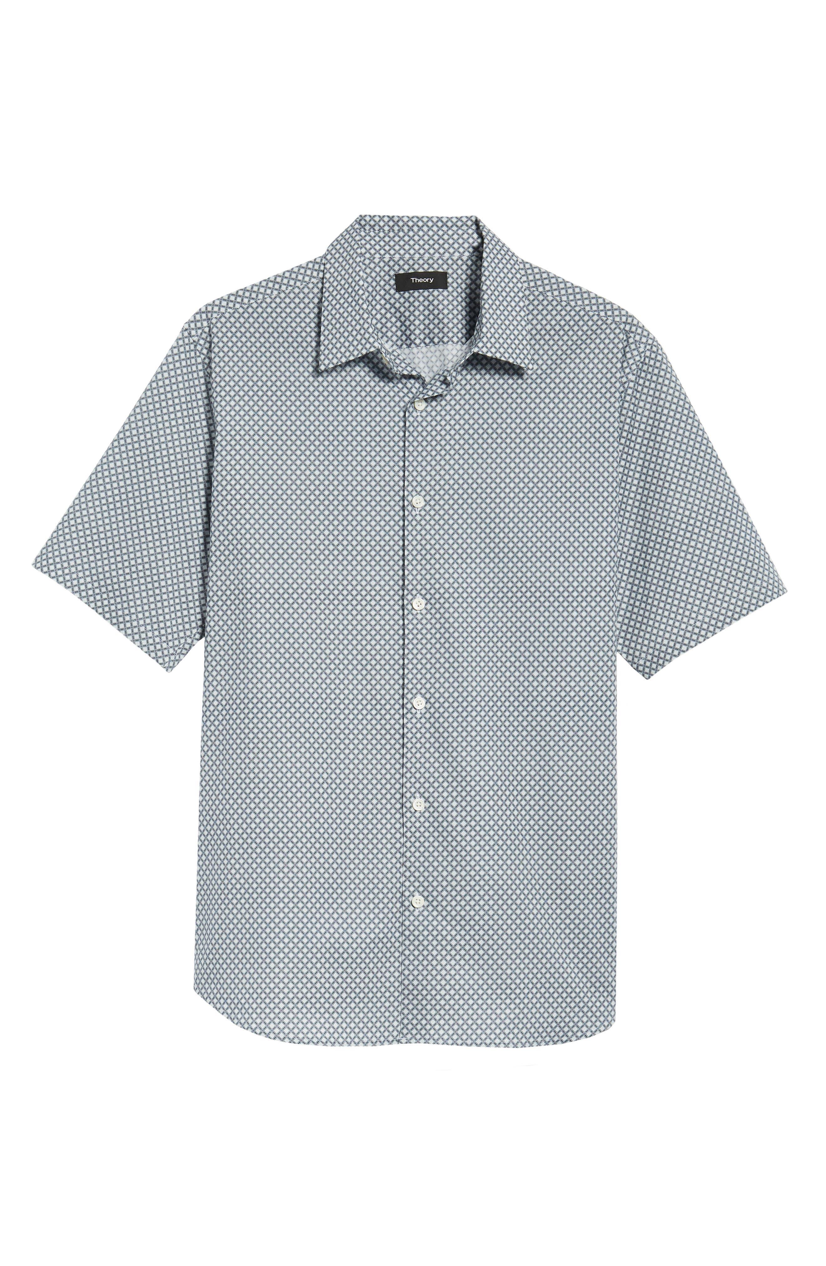 Menlo Halldale Slim Fit Stretch Short Sleeve Sport Shirt,                             Alternate thumbnail 6, color,                             Shale Multi