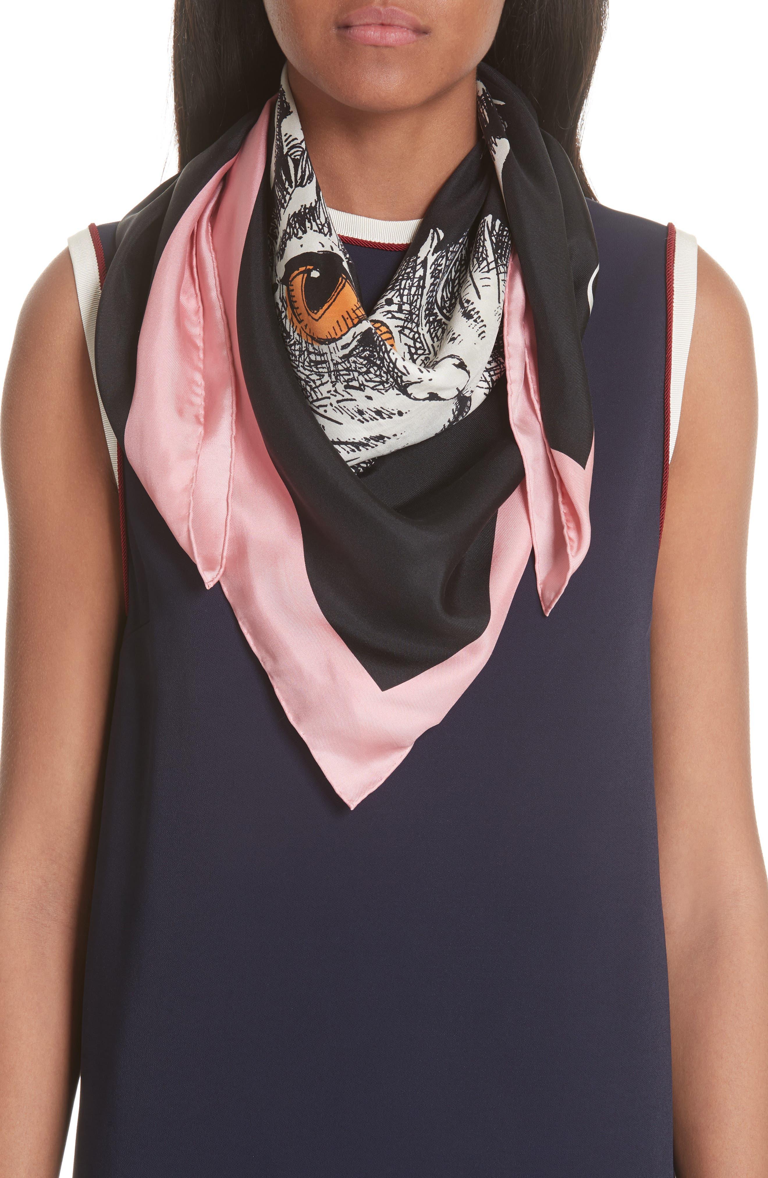 Foulard Forcats Mystic Cat Square Silk Scarf,                             Alternate thumbnail 2, color,                             Black/ Pink