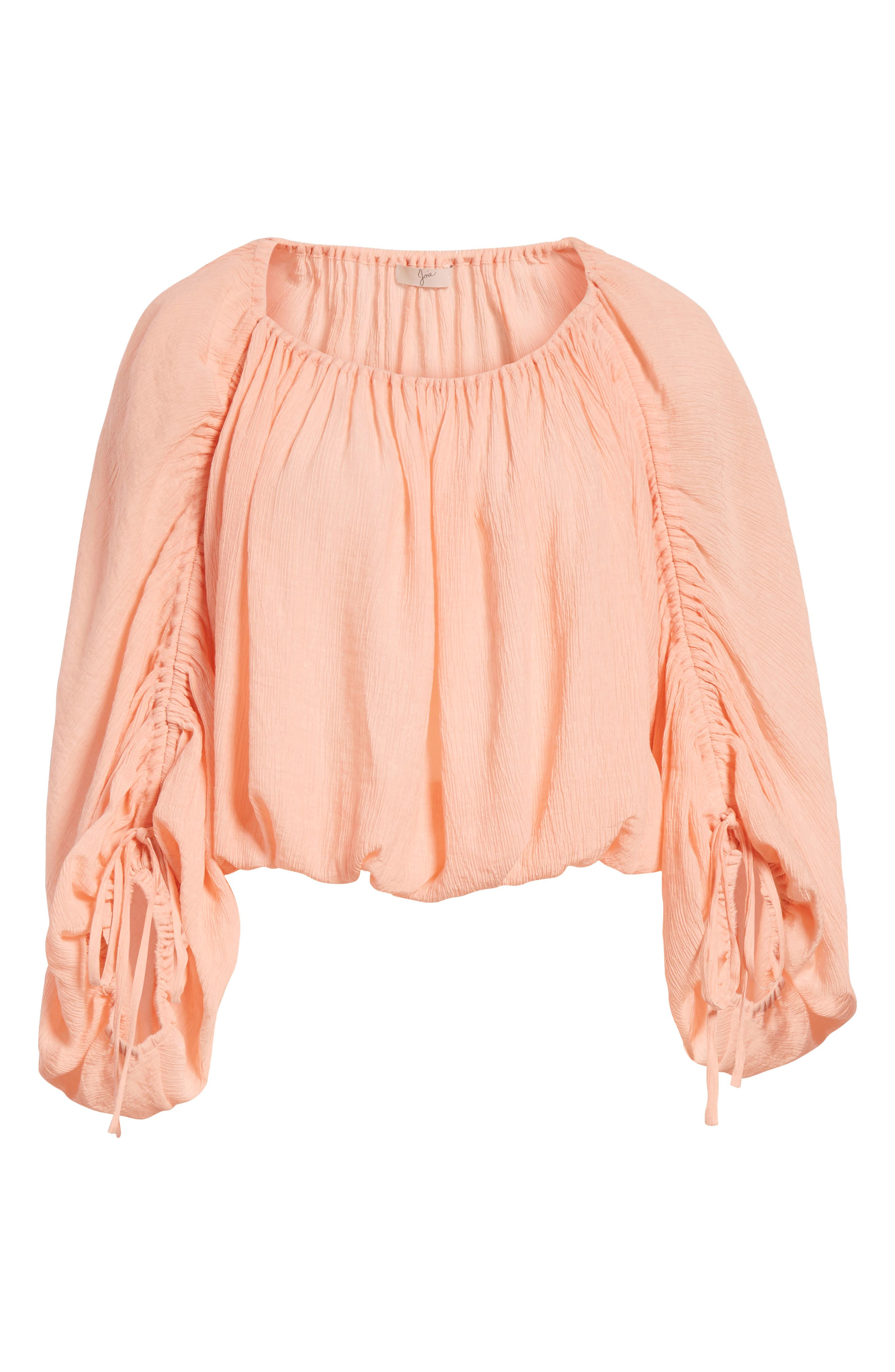 Elazara Ruched Sleeve Peasant Top,                             Alternate thumbnail 6, color,                             Summer Pink