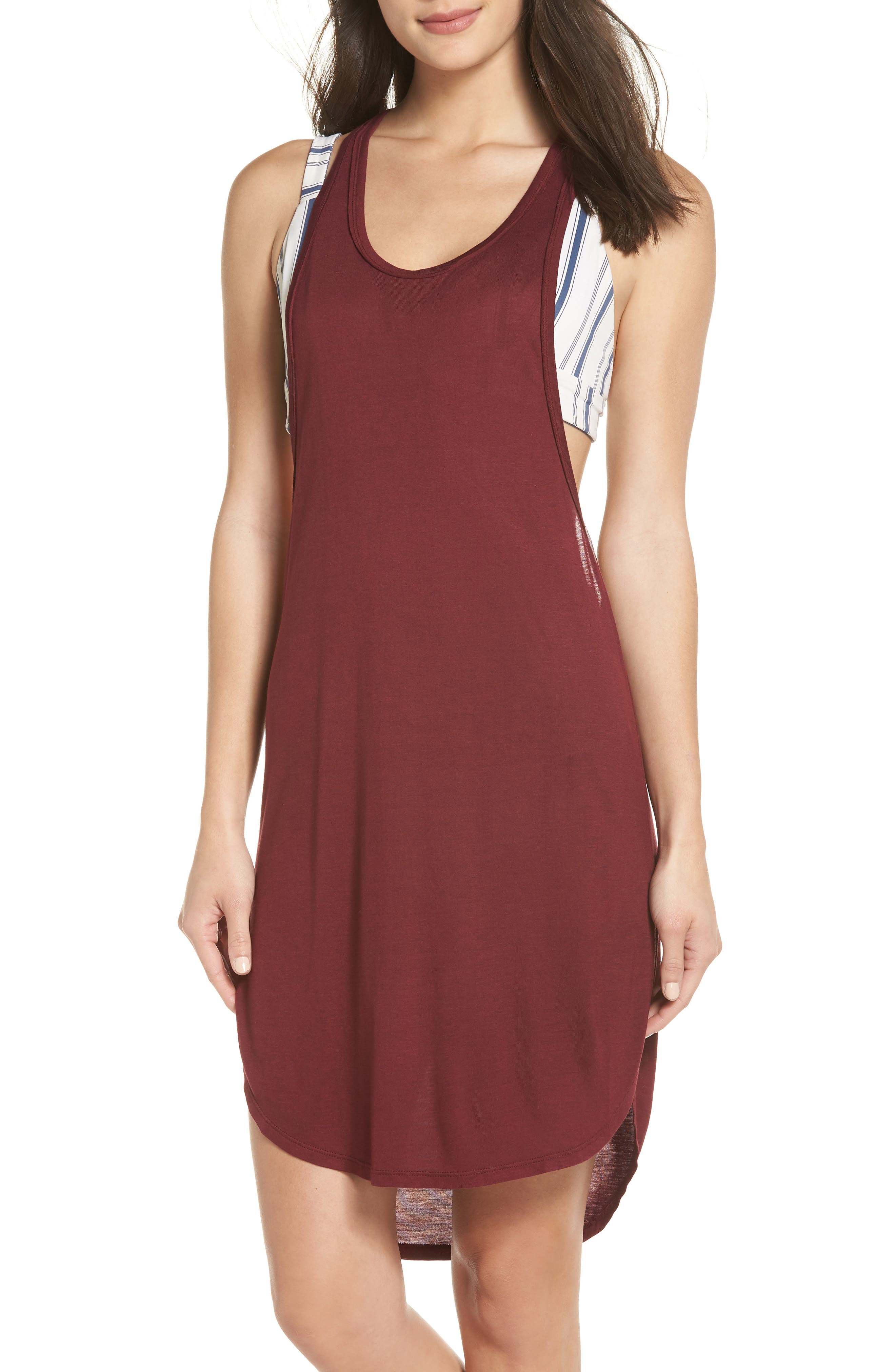 Racerback Cover-Up Tank Dress,                         Main,                         color, Burgundy Field
