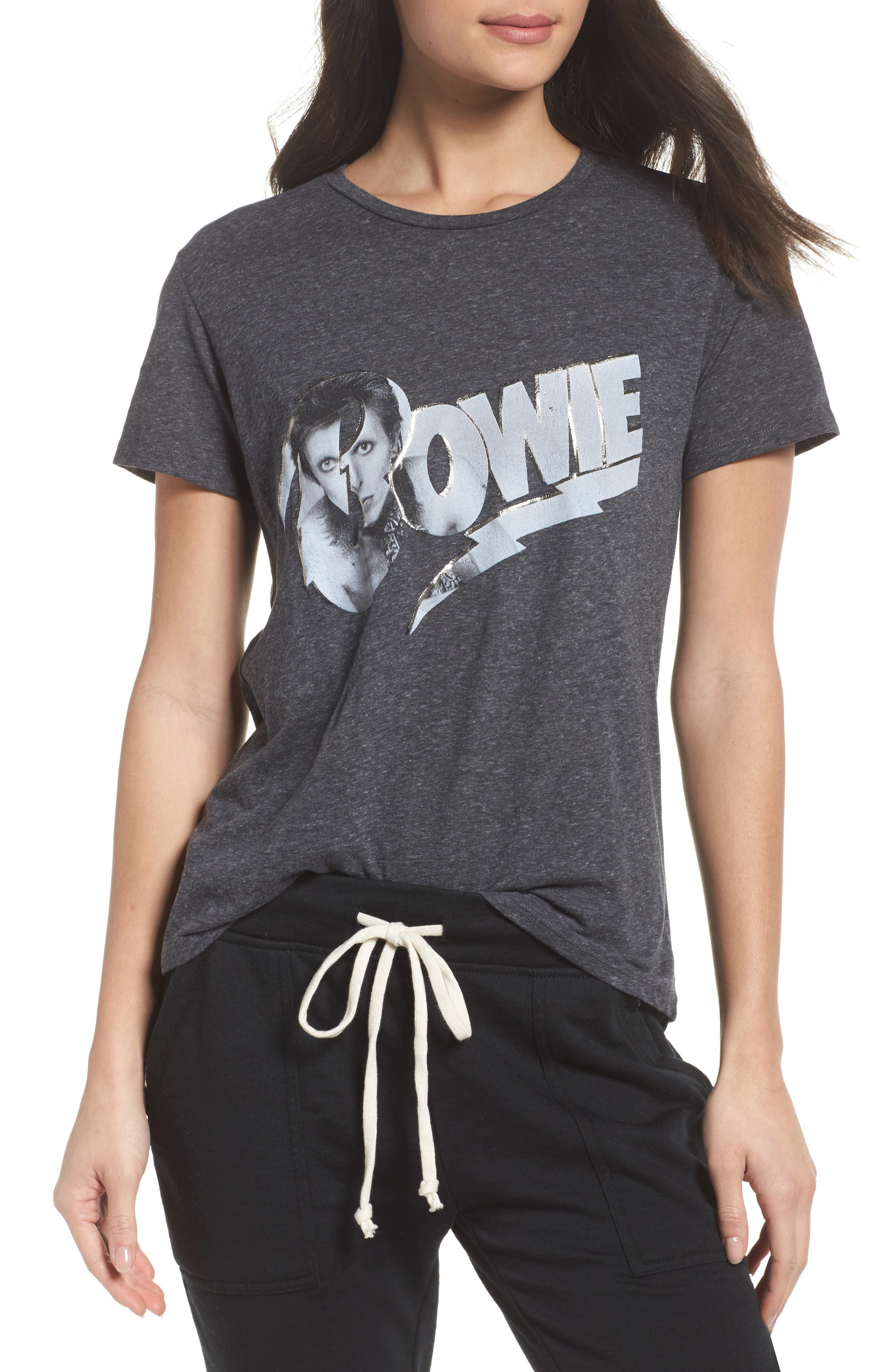 David Bowie High/Low Tee,                         Main,                         color, Charcoal Heather