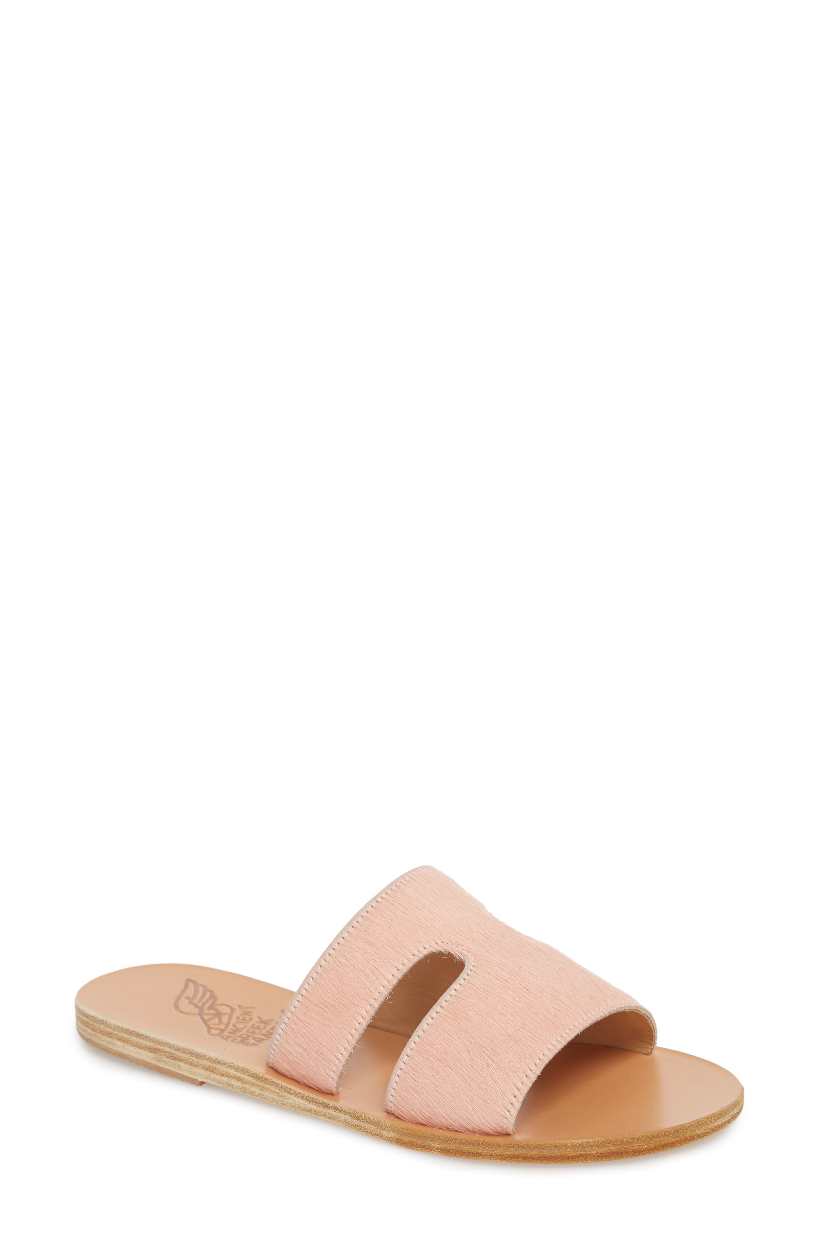 Apteros Genuine Calf Hair Slide Sandal,                             Main thumbnail 1, color,                             Pink Pony