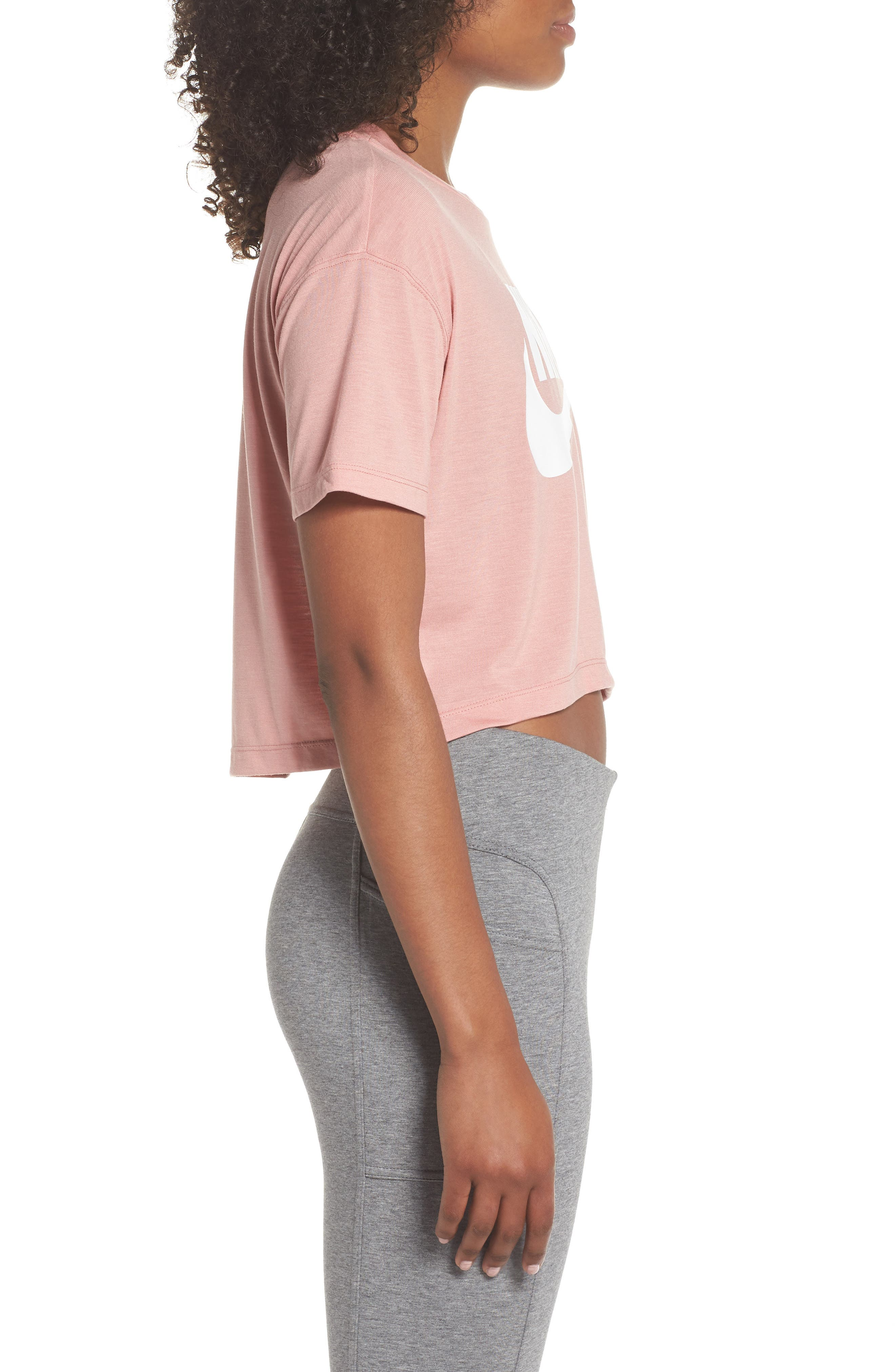 Sportswear Crop Top,                             Alternate thumbnail 3, color,                             Rust Pink/ White