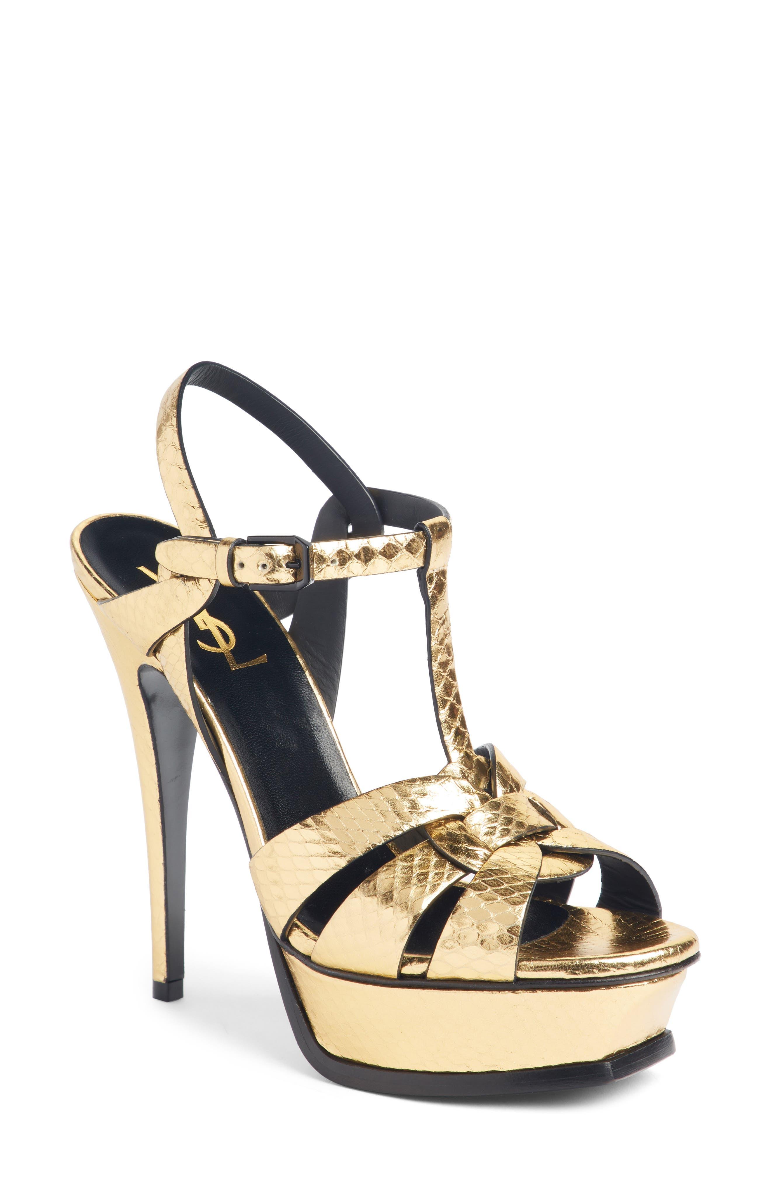 Tribute Metallic Platform Sandal,                             Main thumbnail 1, color,                             Pale Gold