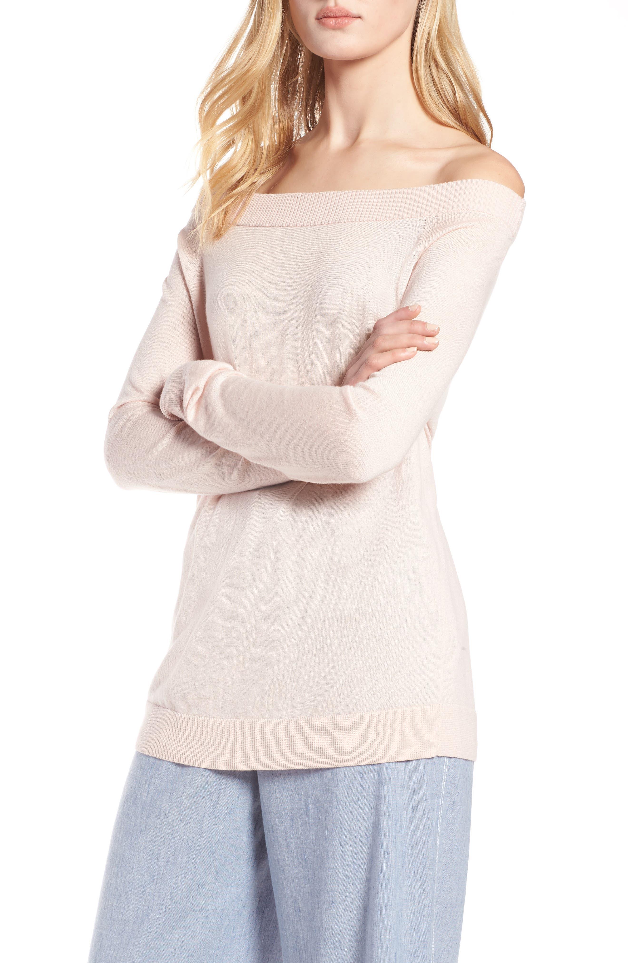 Convertible Bateau Neck Sweater,                             Alternate thumbnail 4, color,                             Pink Peach