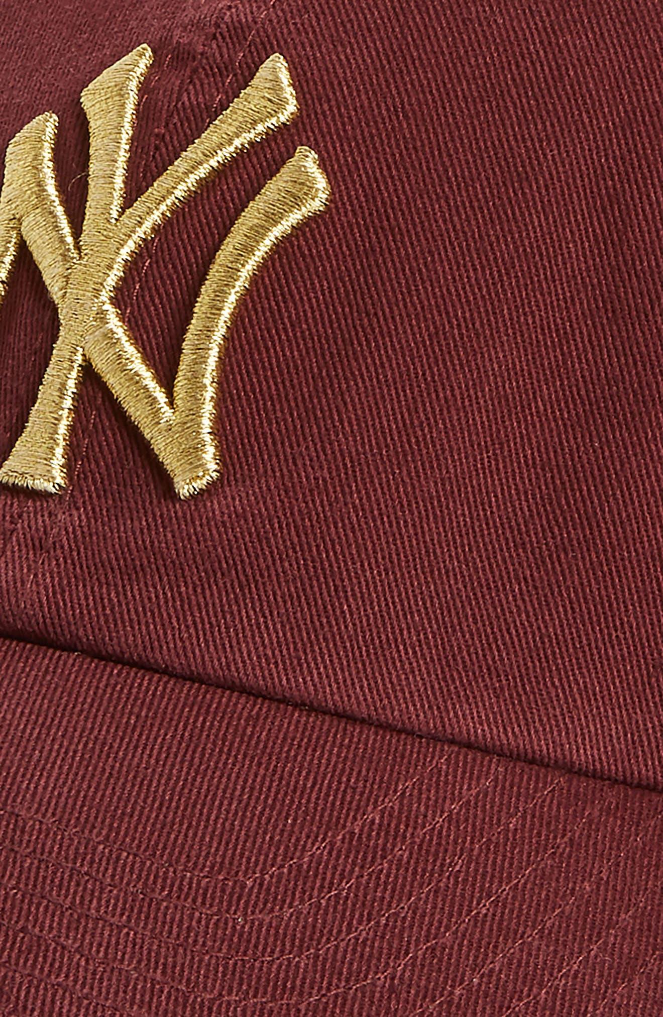 Clean Up New York Yankees Metallic Baseball Cap,                             Alternate thumbnail 3, color,                             Dark Red