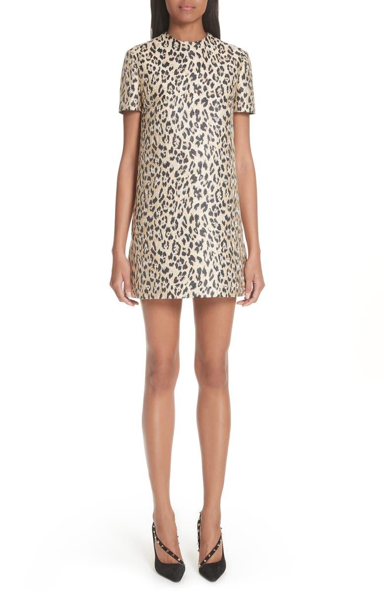 Leopard Print Brocade A-Line Dress