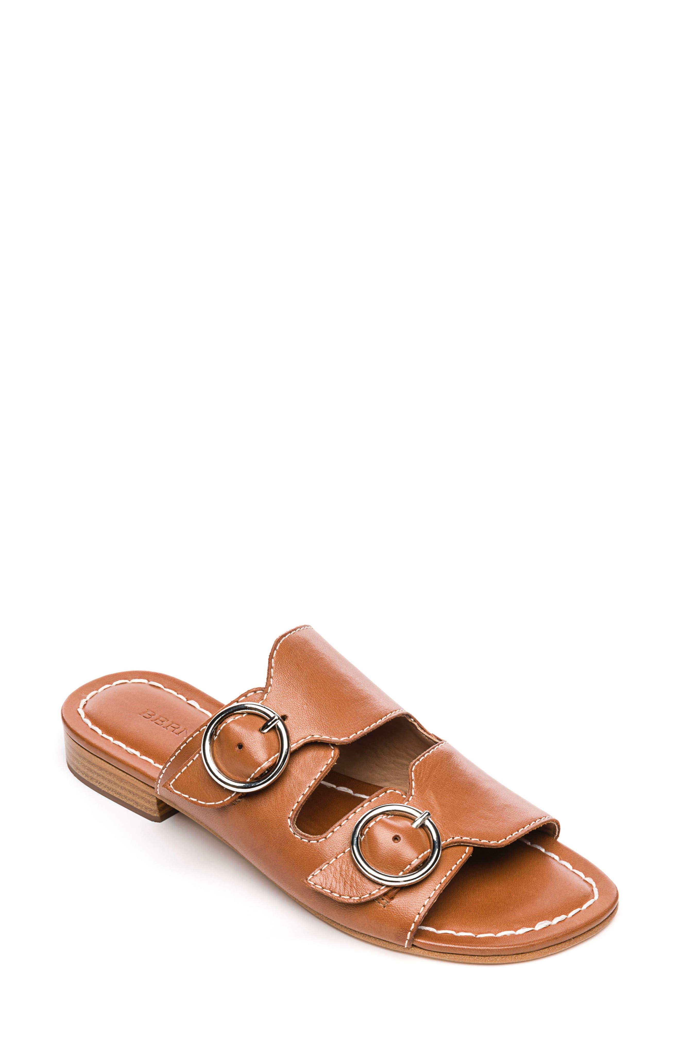 Bernardo Tobi Slide Sandal,                             Main thumbnail 1, color,                             Luggage Leather