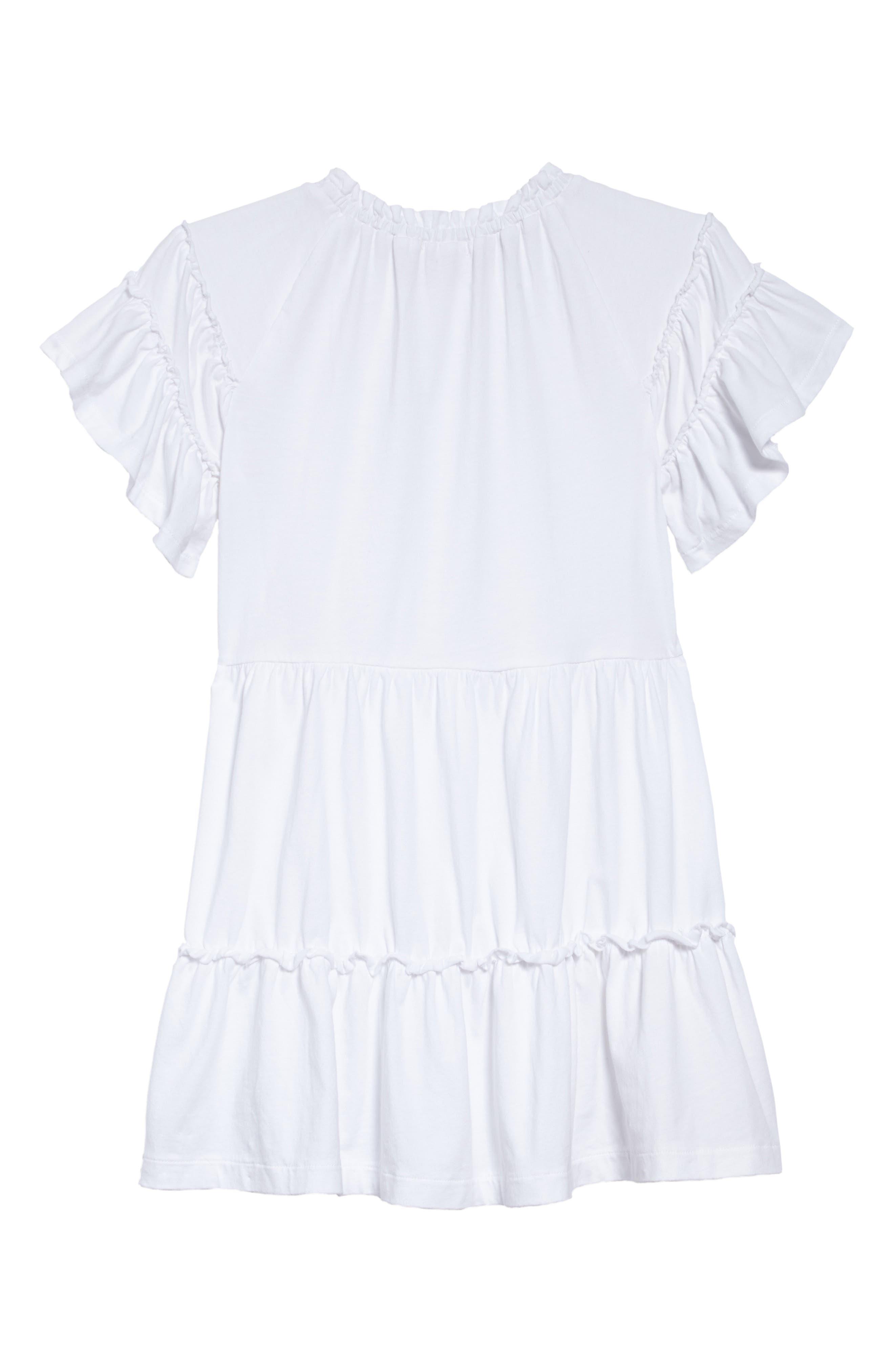 Ruffle T-Shirt Dress,                             Alternate thumbnail 2, color,                             White