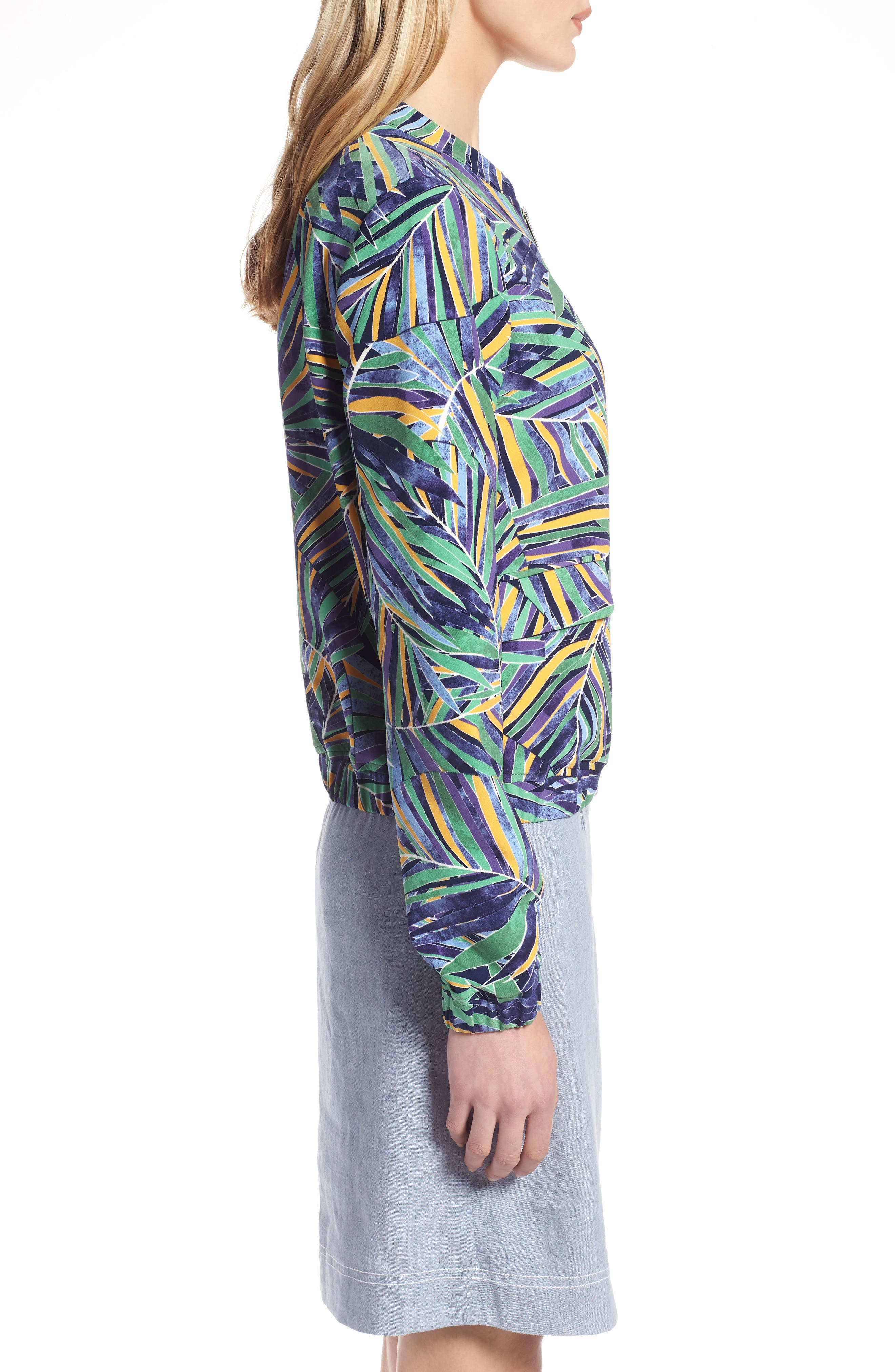 Drawstring Jacket,                             Alternate thumbnail 3, color,                             Green- Blue Palm Print