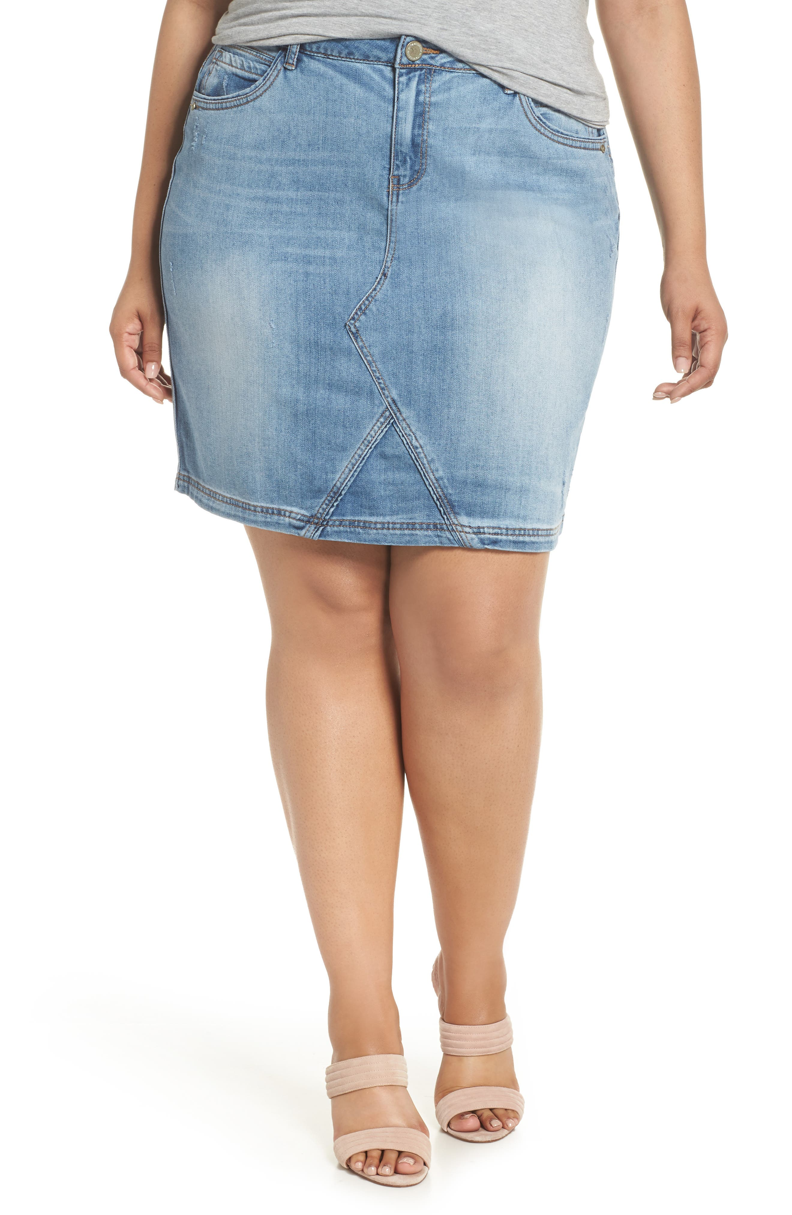 Denim A-Line Skirt,                             Main thumbnail 1, color,                             Light Blue