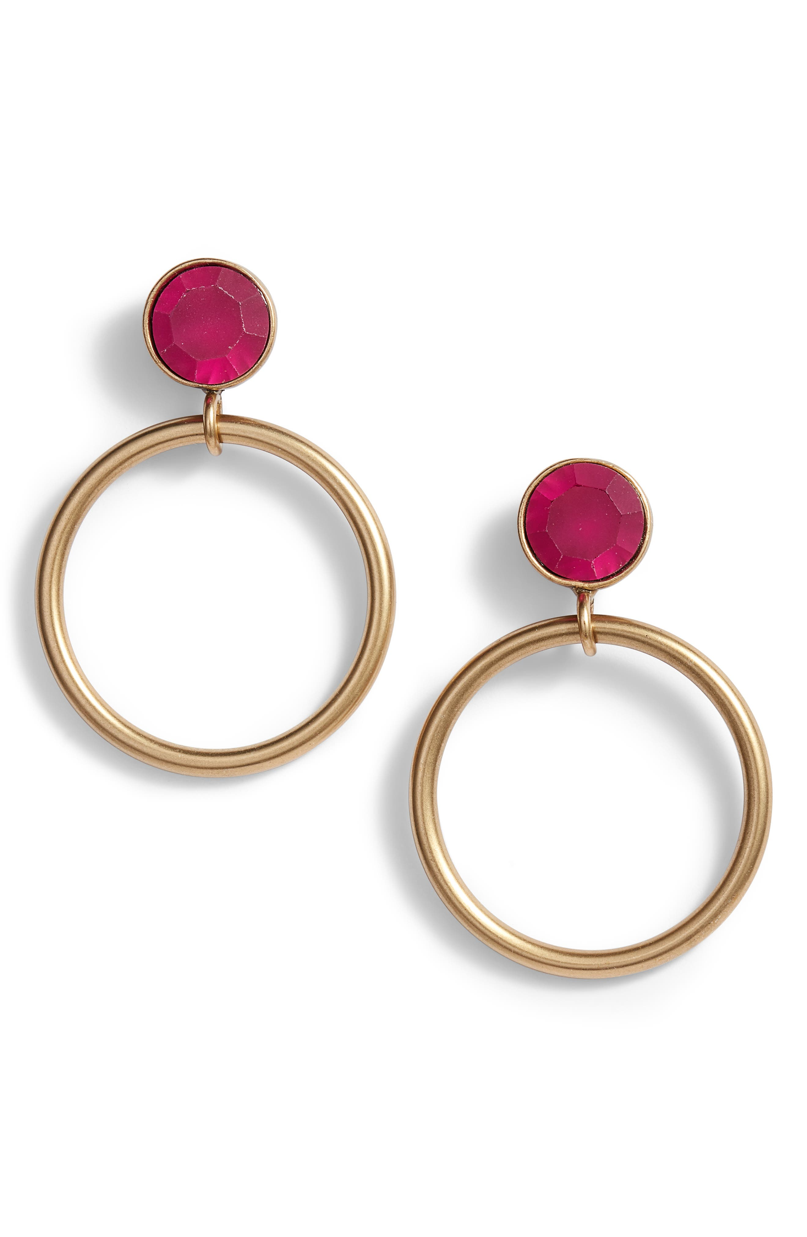 Cecelia Crystal Drop Hoop Earrings,                         Main,                         color, Fuchsia