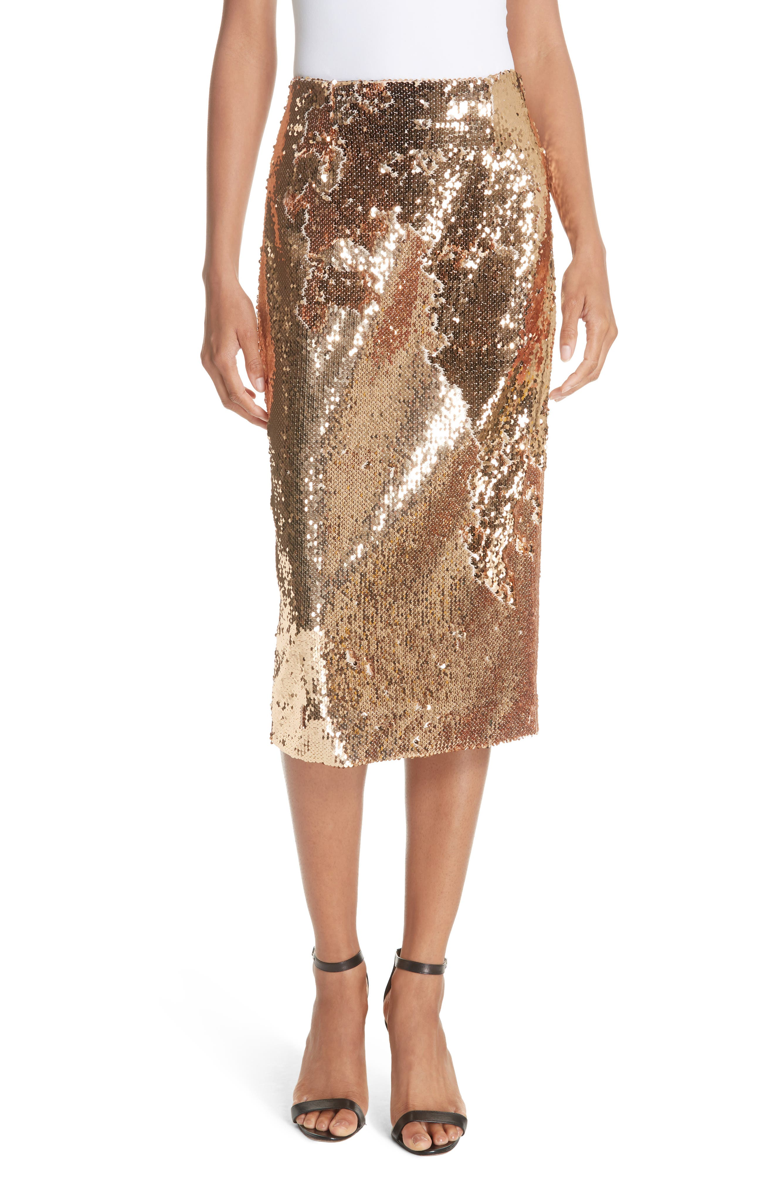 Jamie Sequin Midi Skirt, Gold