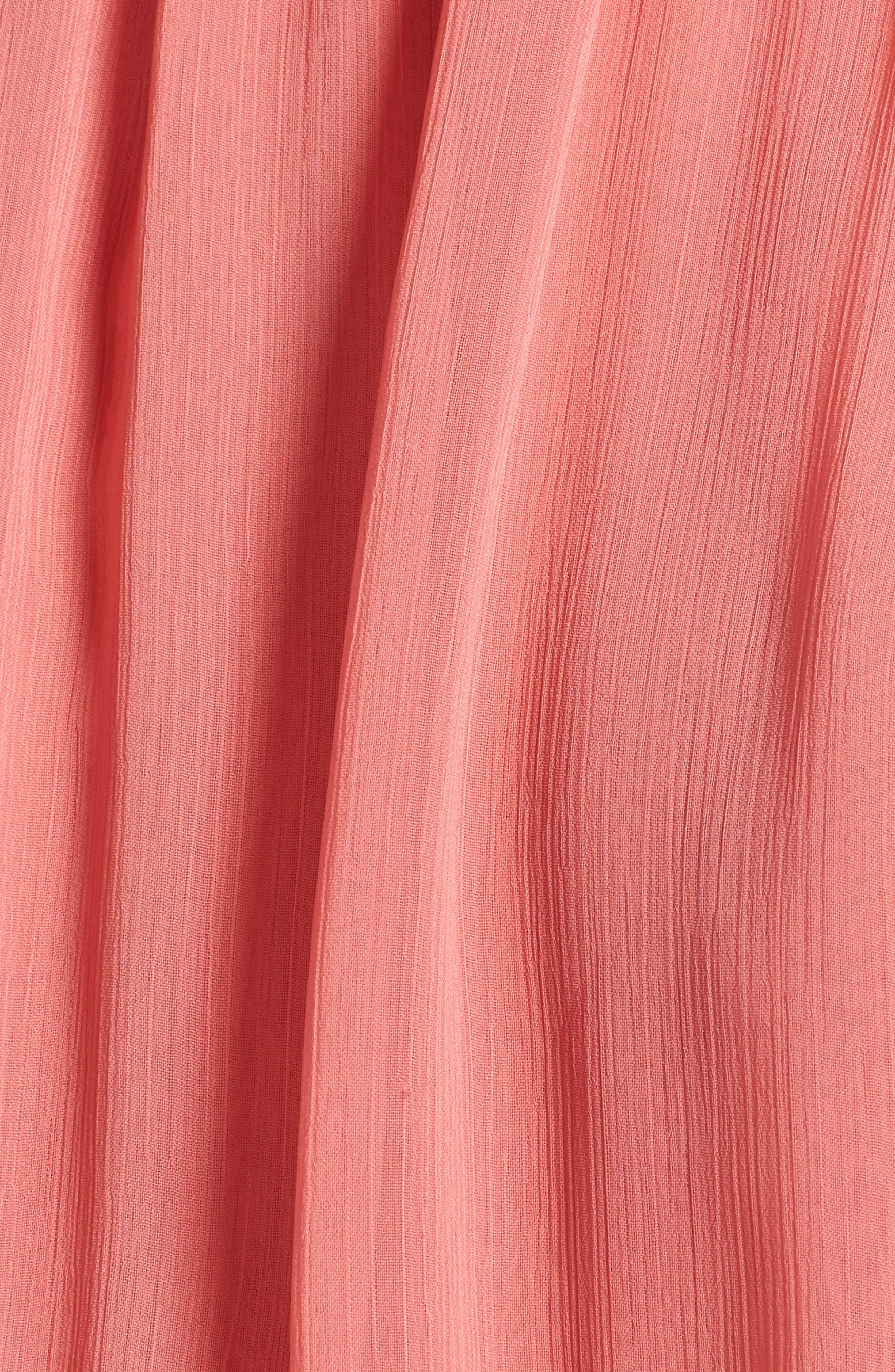 Ruffle Chiffon Blouse,                             Alternate thumbnail 5, color,                             Coral Rose Tea