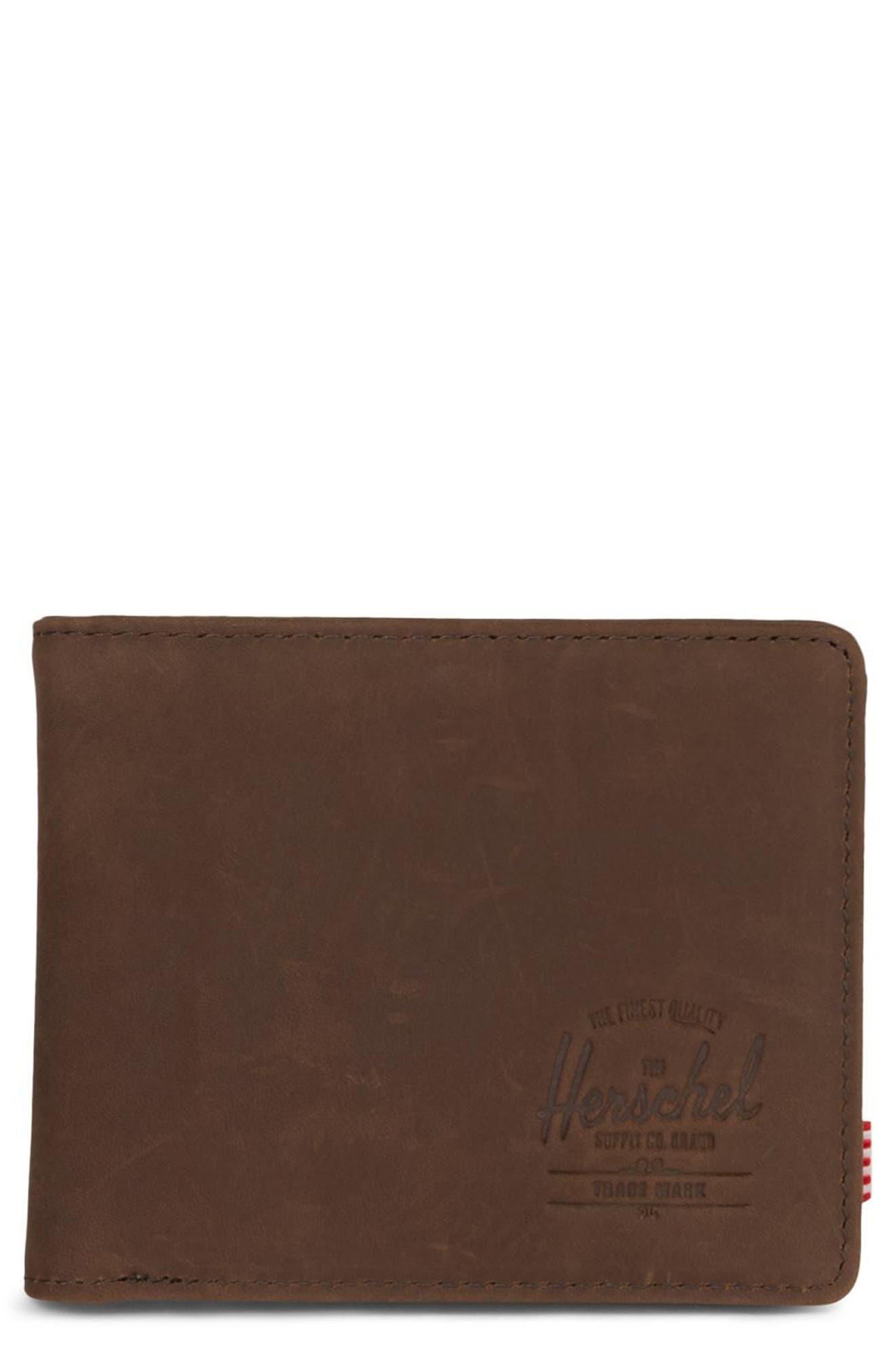 Hank Leather Wallet,                         Main,                         color, Nubuck Brown