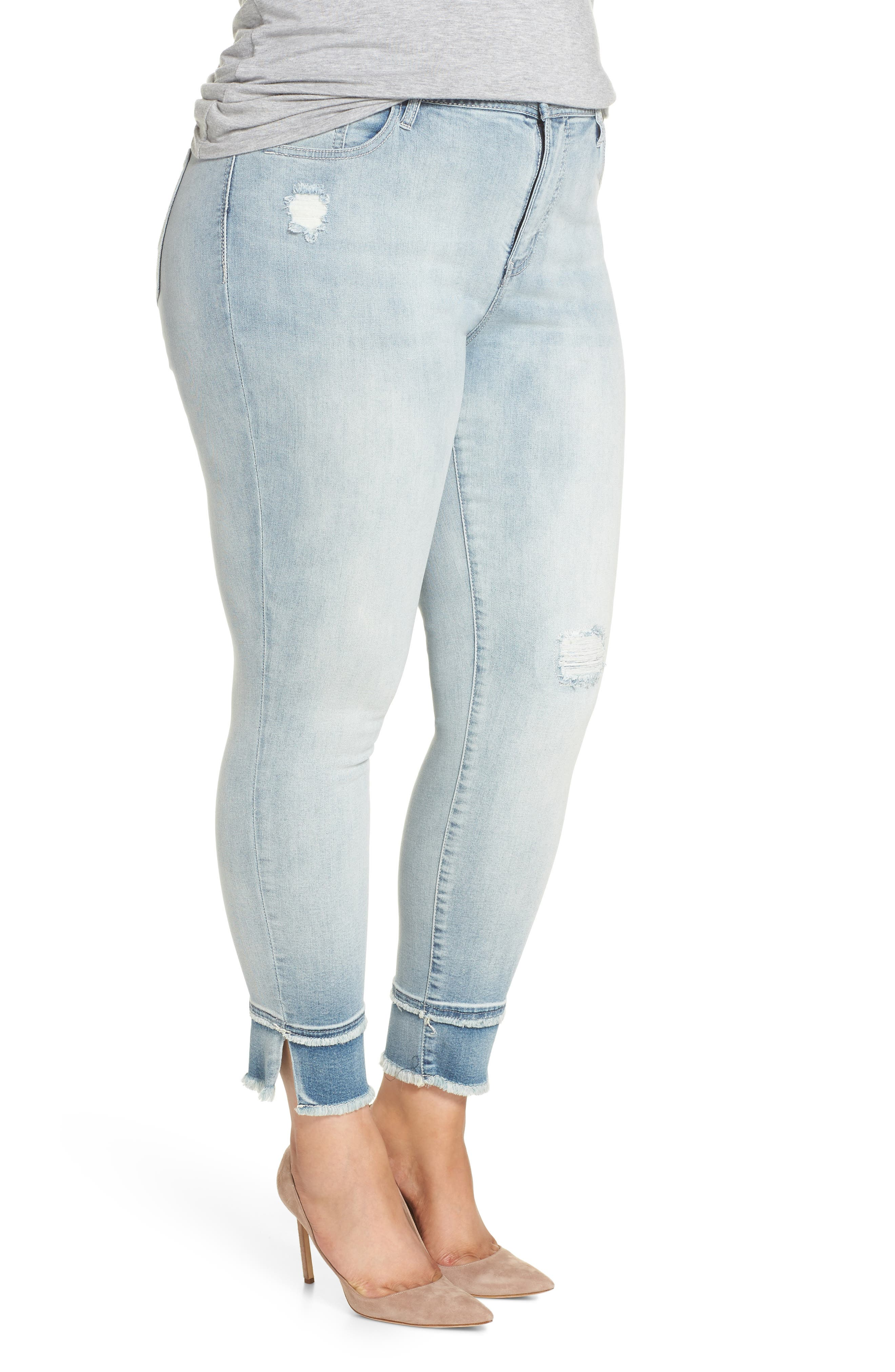 Double Raw Hem High Waist Skinny Jeans,                             Alternate thumbnail 3, color,                             Sawyer