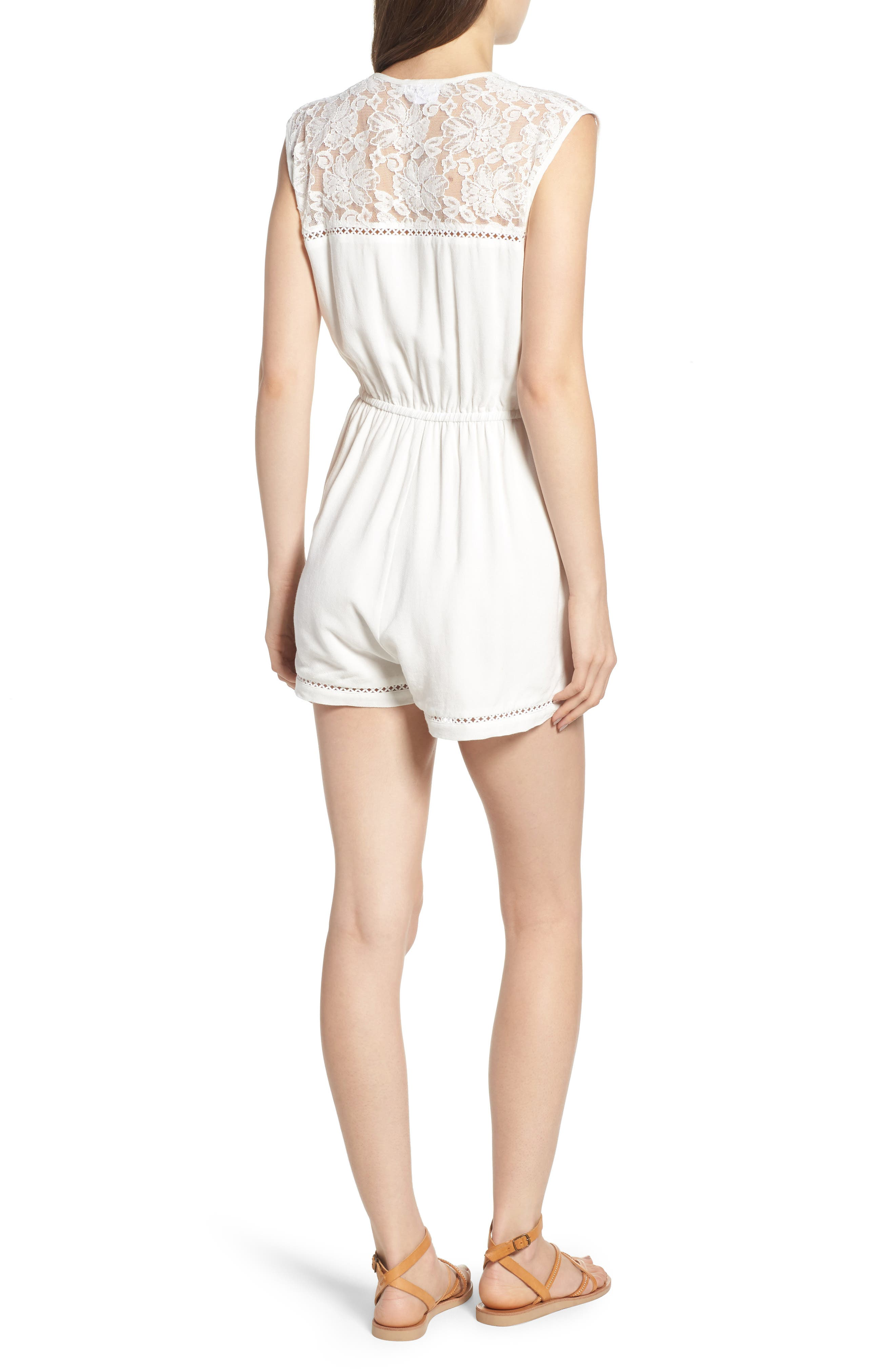 Oceans Away Lace Panel Romper,                             Alternate thumbnail 3, color,                             White
