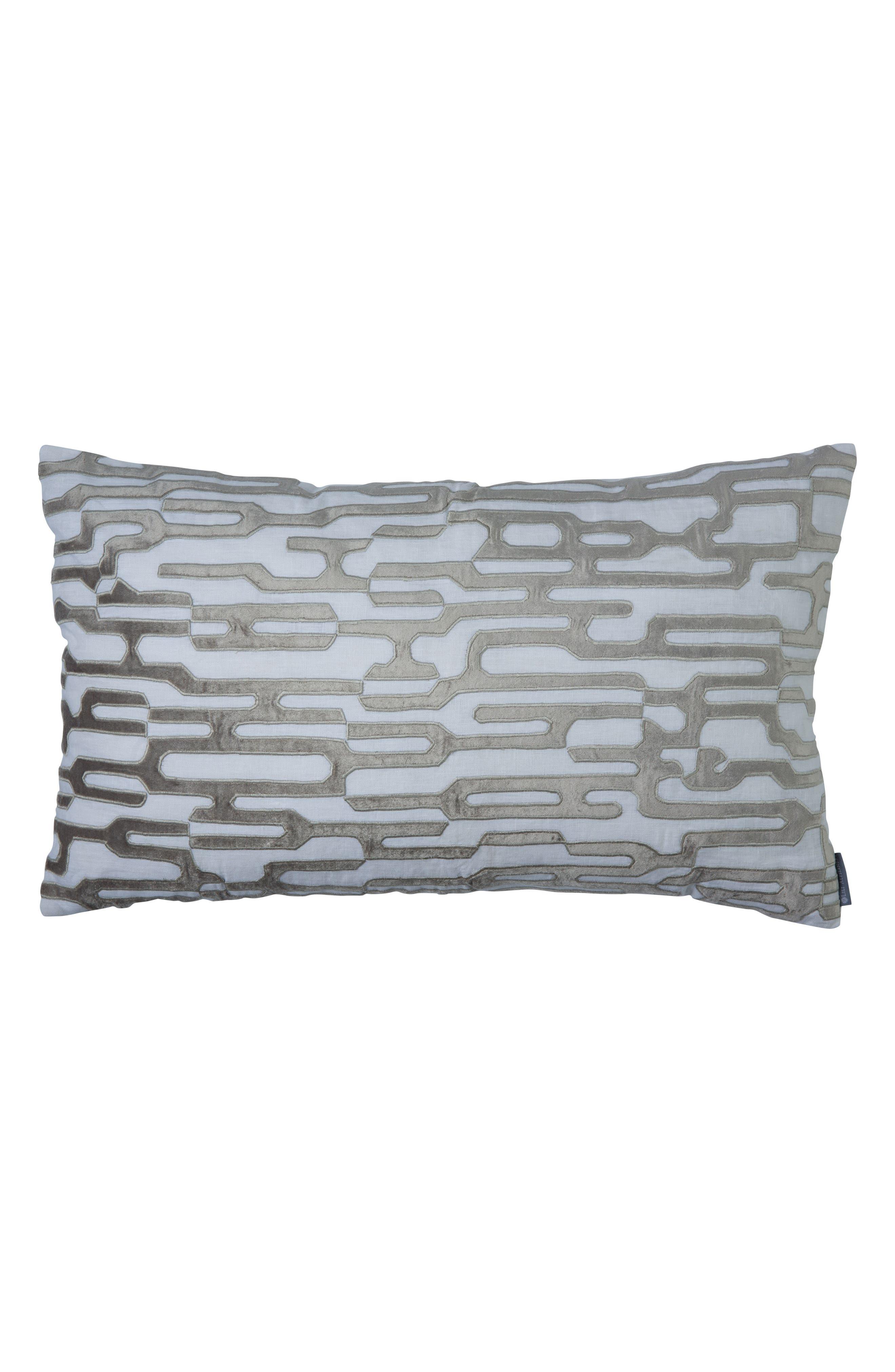 Christian Large Linen Velvet Accent Pillow,                         Main,                         color, Gray